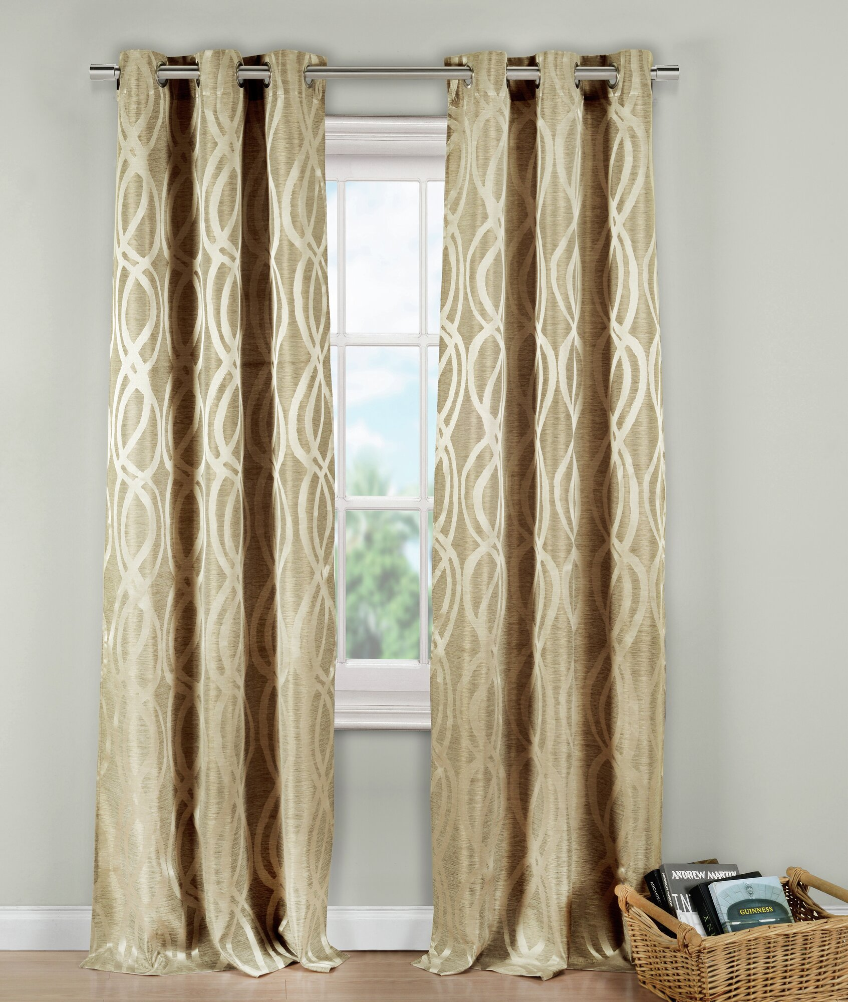 Dr International Allana Metallic Jacquard Grommet Curtain