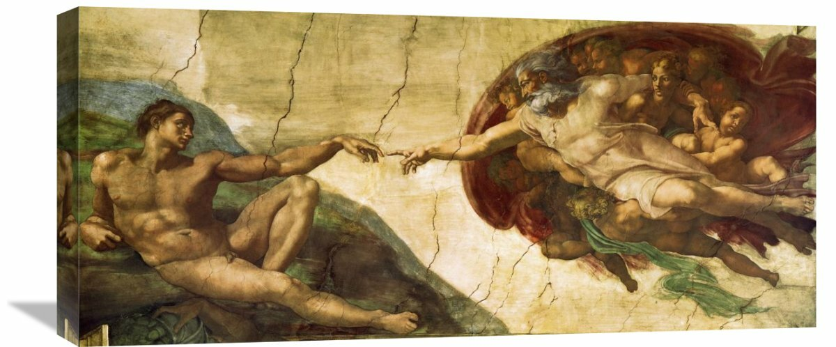 creation of adam 1 by michelangelo painting print on