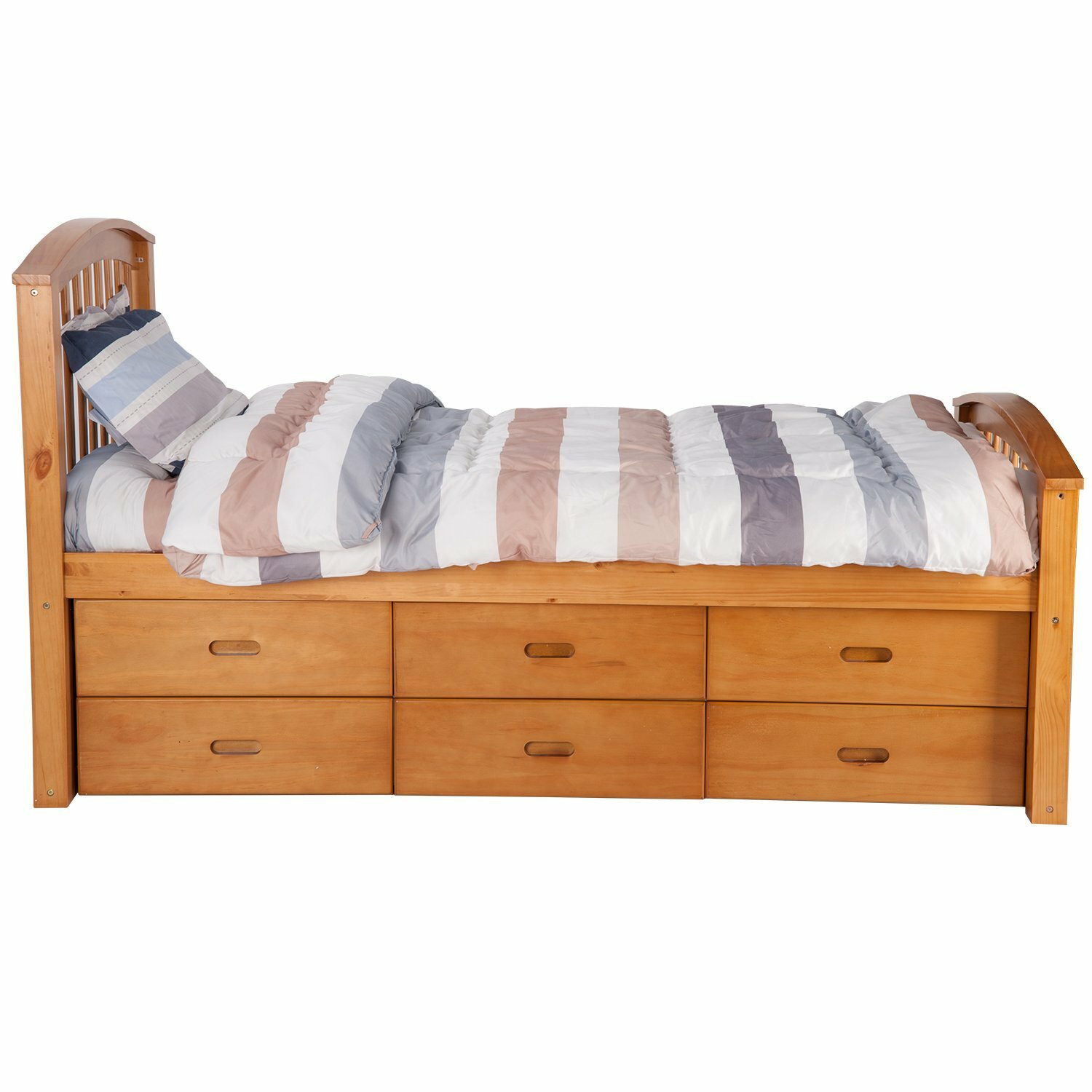 Merax solid wood storage twin platform bed with 6 drawers for Double bed with drawers and mattress