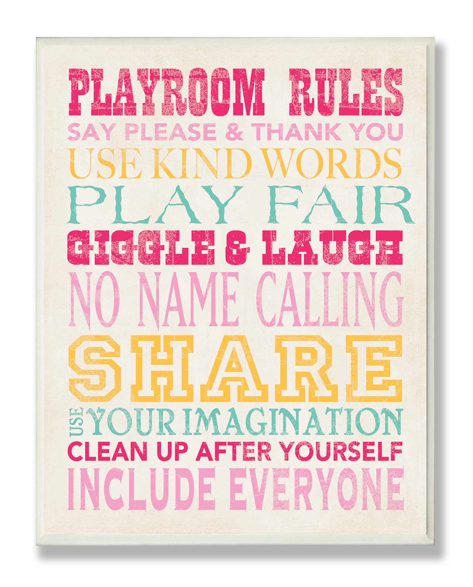 The Kids Room Pink Playroom Rules Typography Rectangle