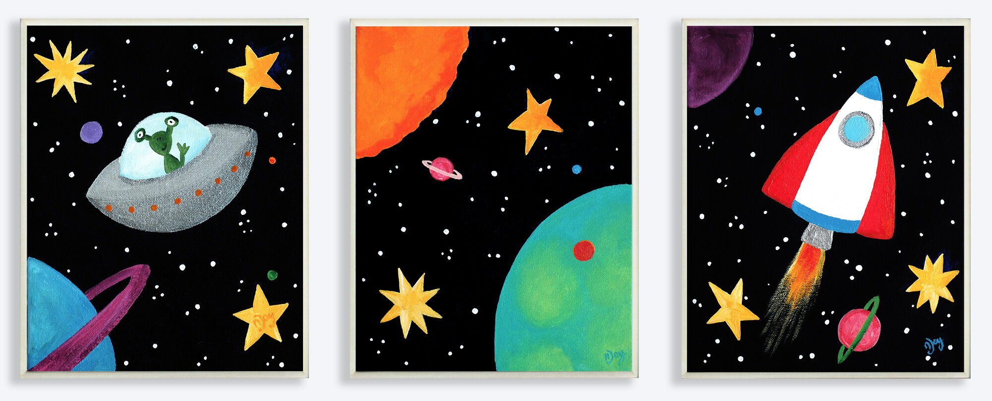 The kids room outer space triptych 3 piece graphic art for Wall decor outer space