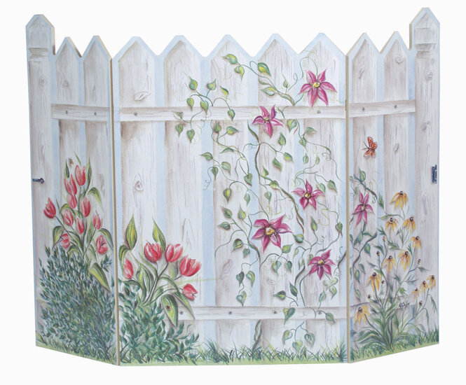 Stupell Industries Picket Fence 3 Panel Fireplace Screen