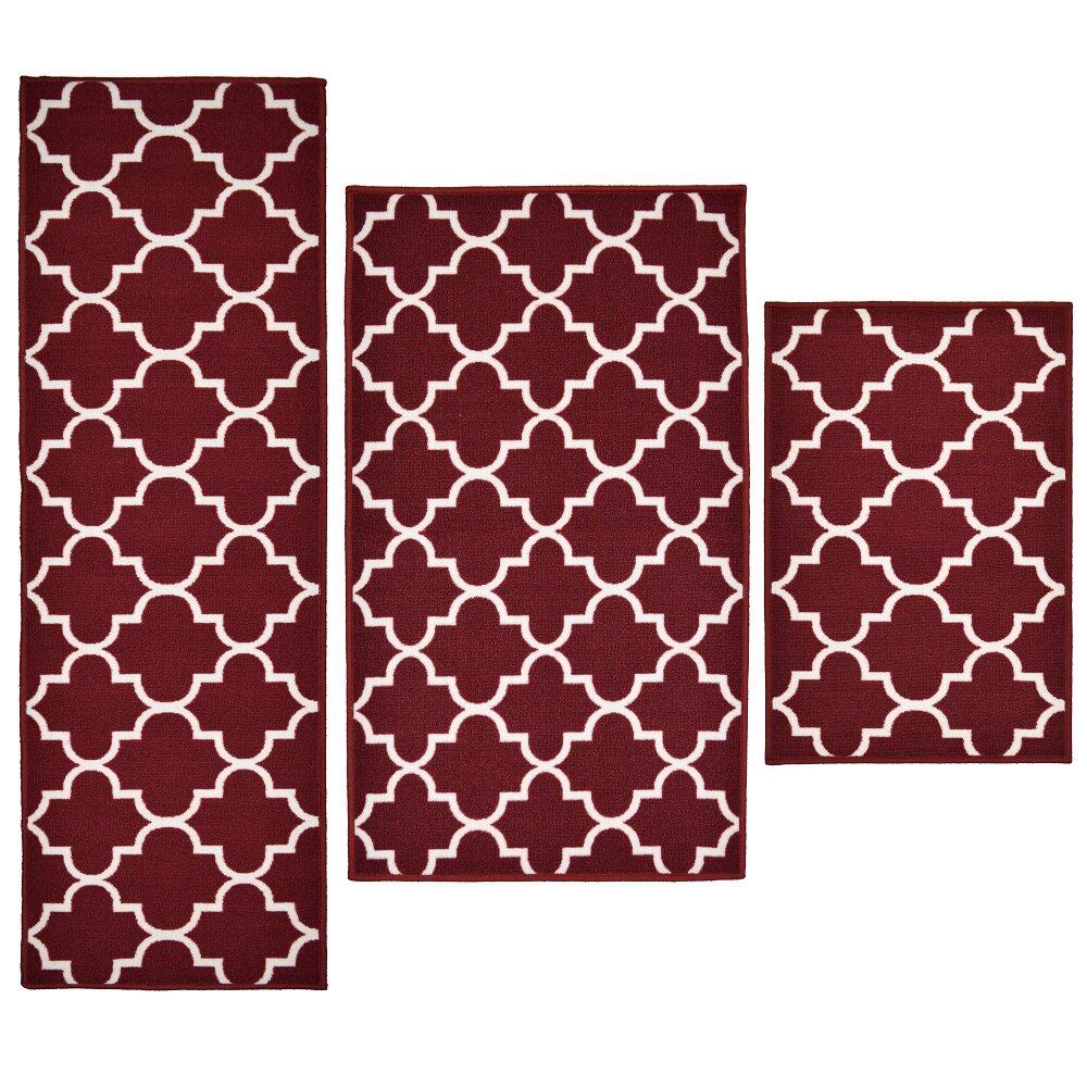 madison home 3 piece textured lattice red area rug set ebay