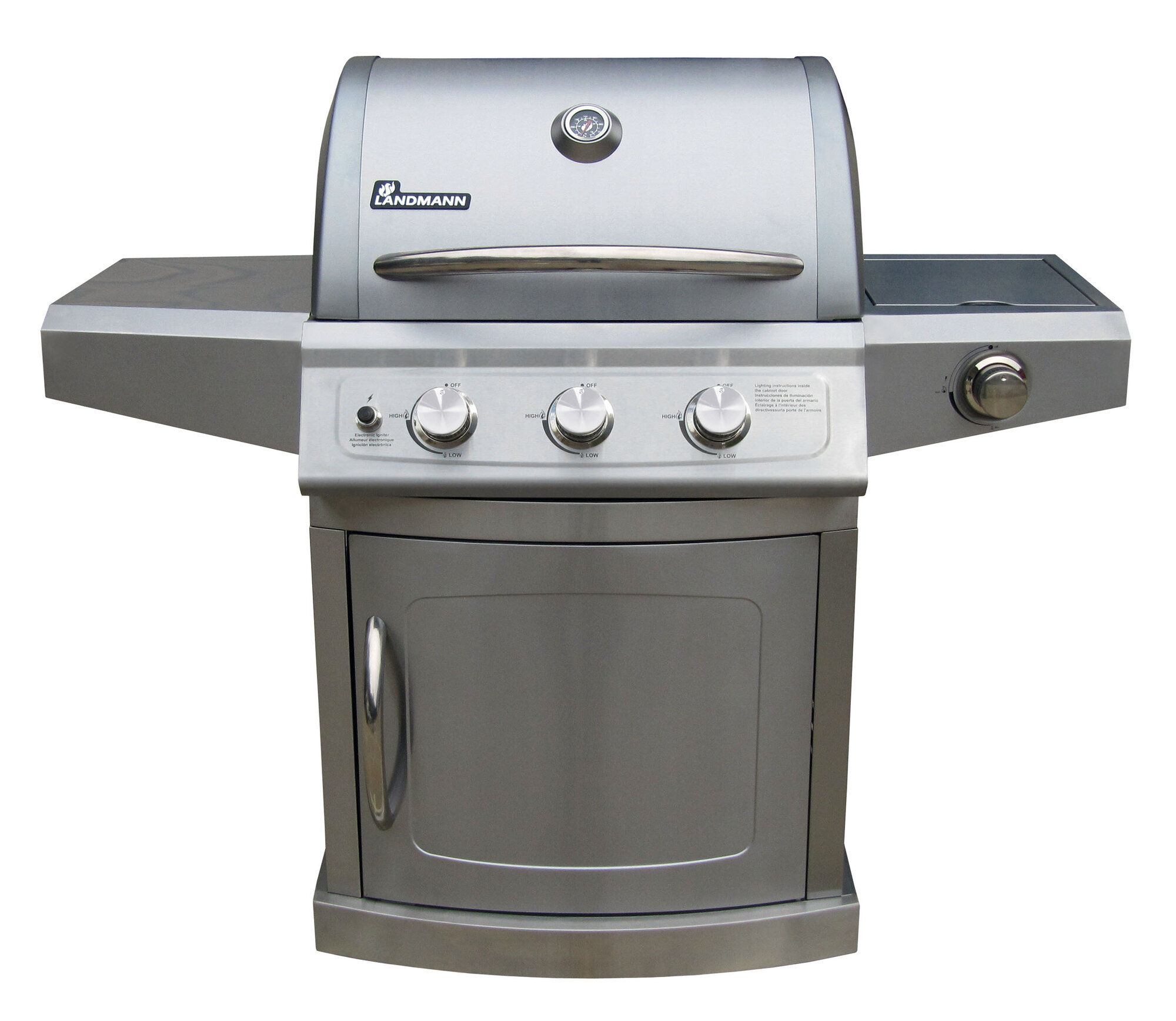 landmann falcon series 3 burner gas grill with side burner ebay. Black Bedroom Furniture Sets. Home Design Ideas