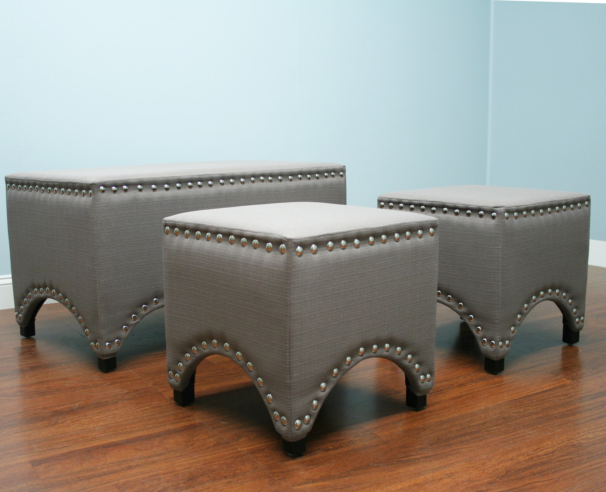 AC Pacific 3 Piece Upholstered Storage Entryway Bench Set