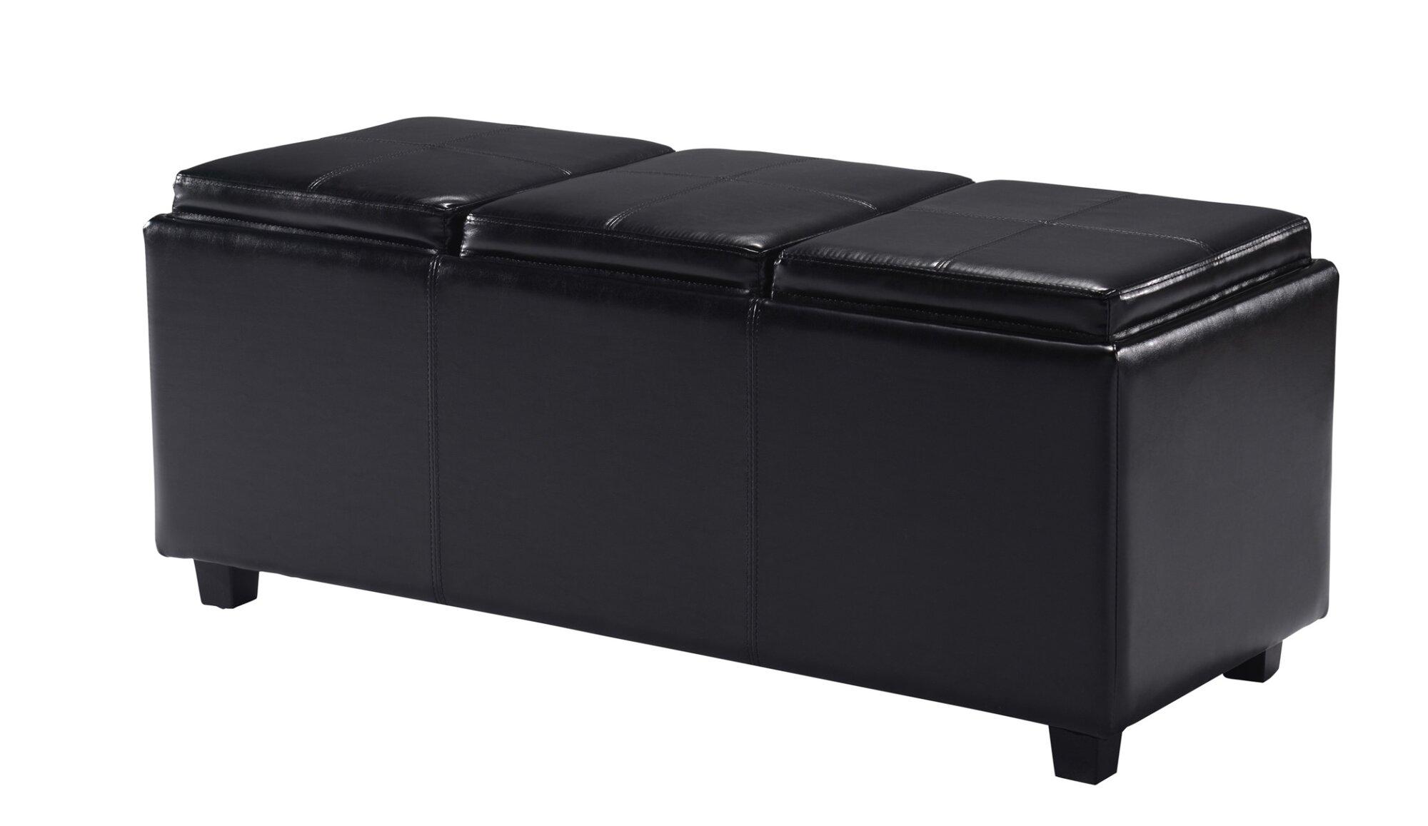 simpli home avalon rectangular storage ottoman with 3 serving trays. Black Bedroom Furniture Sets. Home Design Ideas