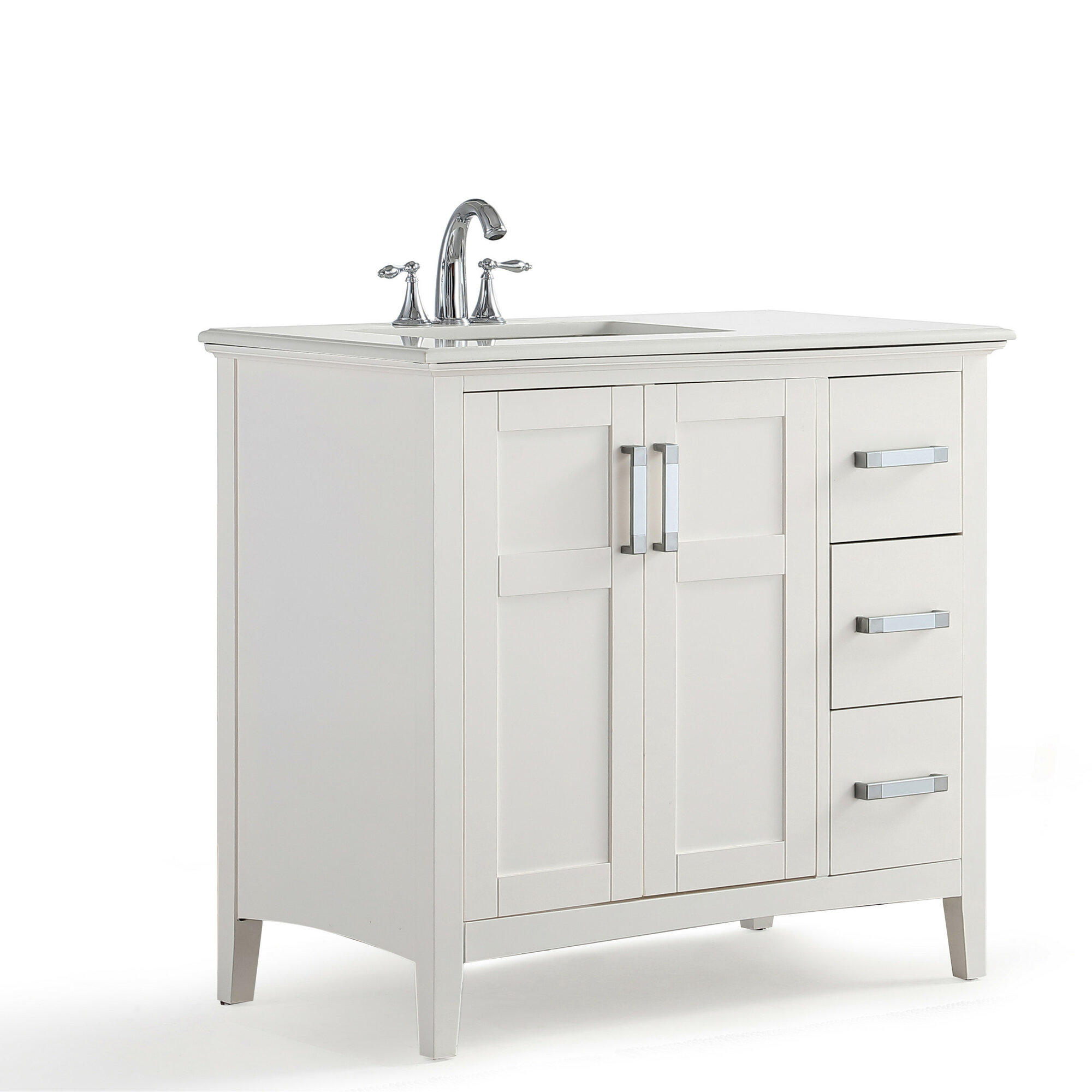 Winston Left Offset 37 Single Bathroom Vanity With Quartz Marble Top