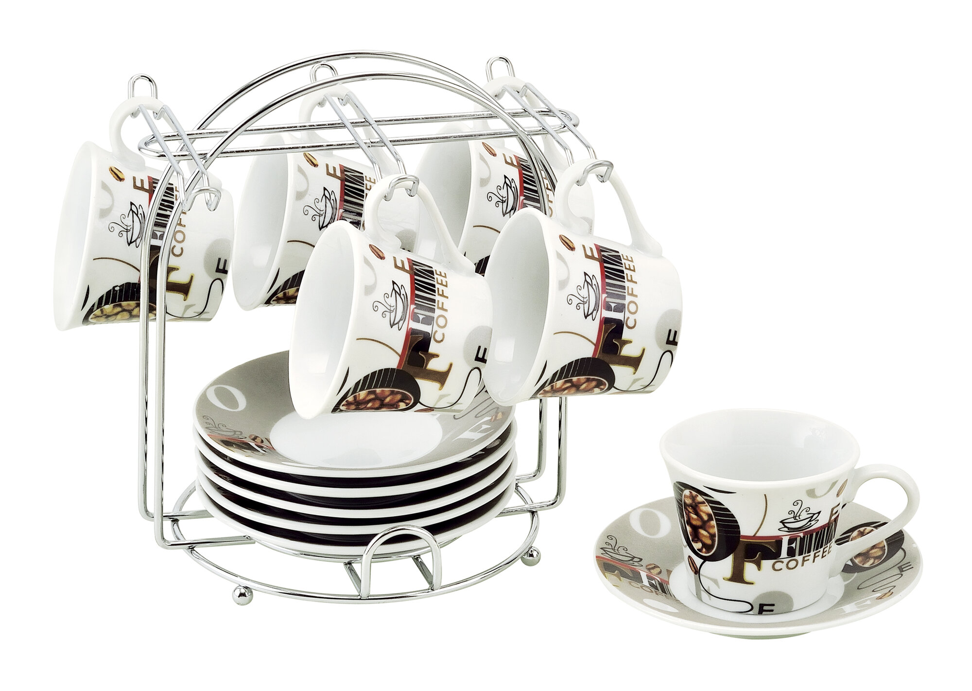 Lorren Home Trends Espresso Cup and Saucer Set with Metal ...