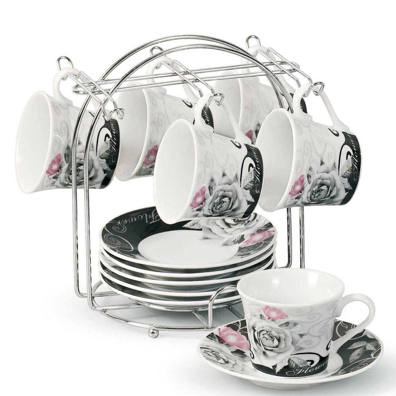 lorren home trends espresso cup and saucer set with metal. Black Bedroom Furniture Sets. Home Design Ideas