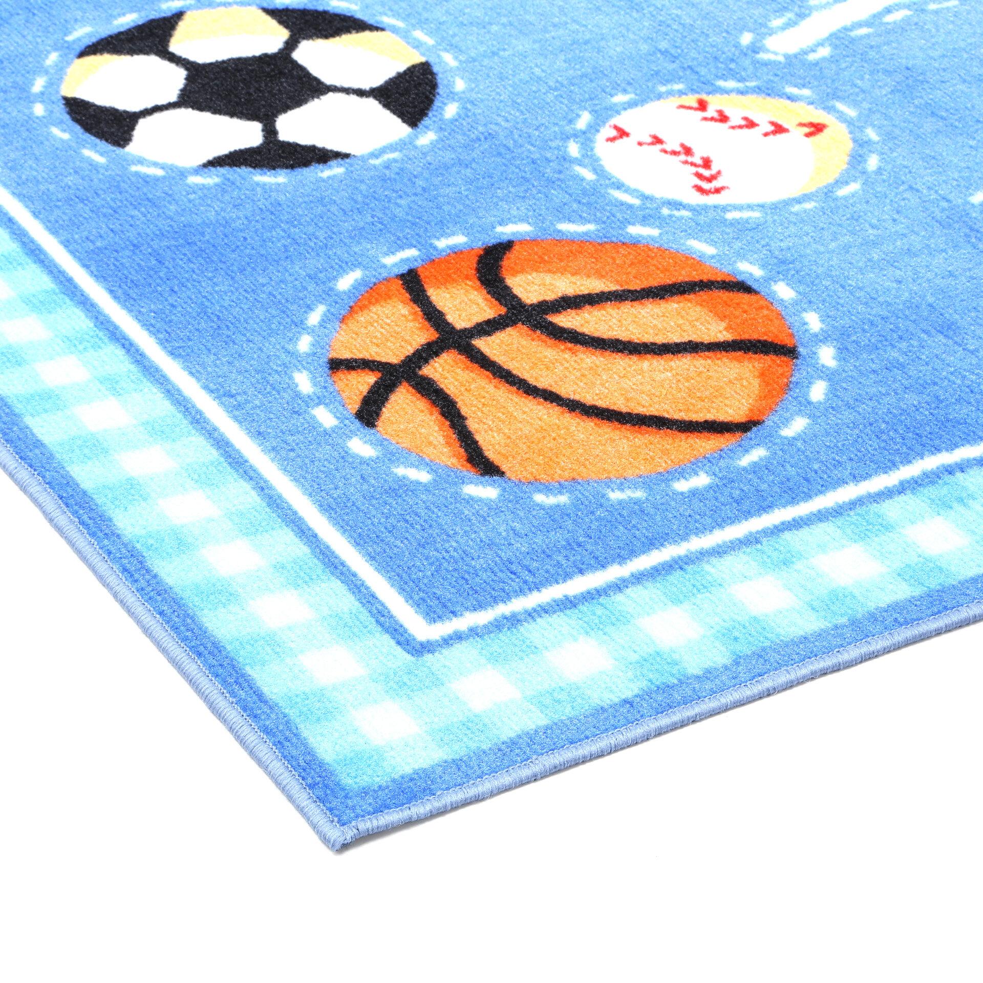Fun Rugs Olive Kids Go Team Sports Blue Area Rug