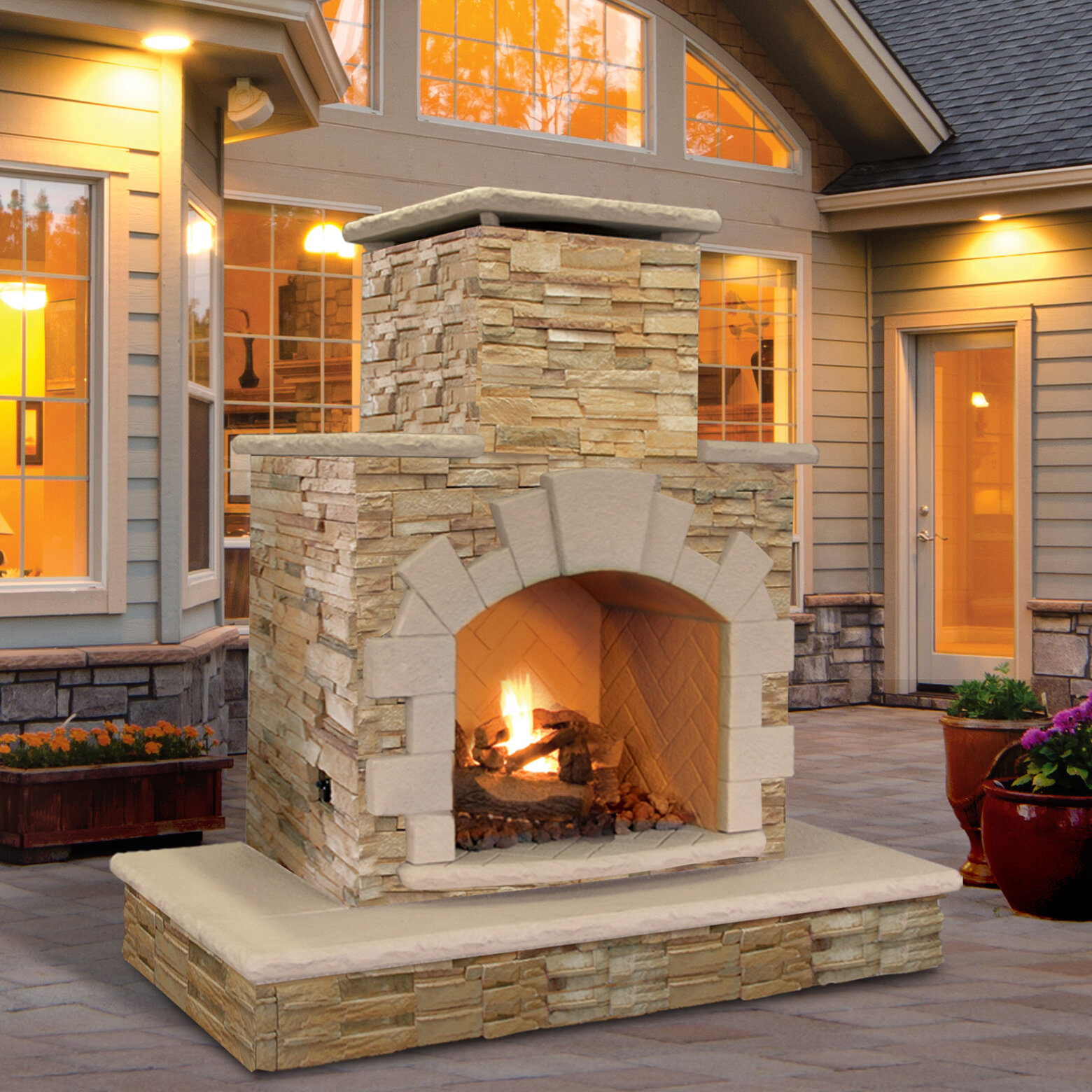 Backyard Fireplace Pictures : Details about CalFlame Natural Stone Propane  Gas Outdoor Fireplace