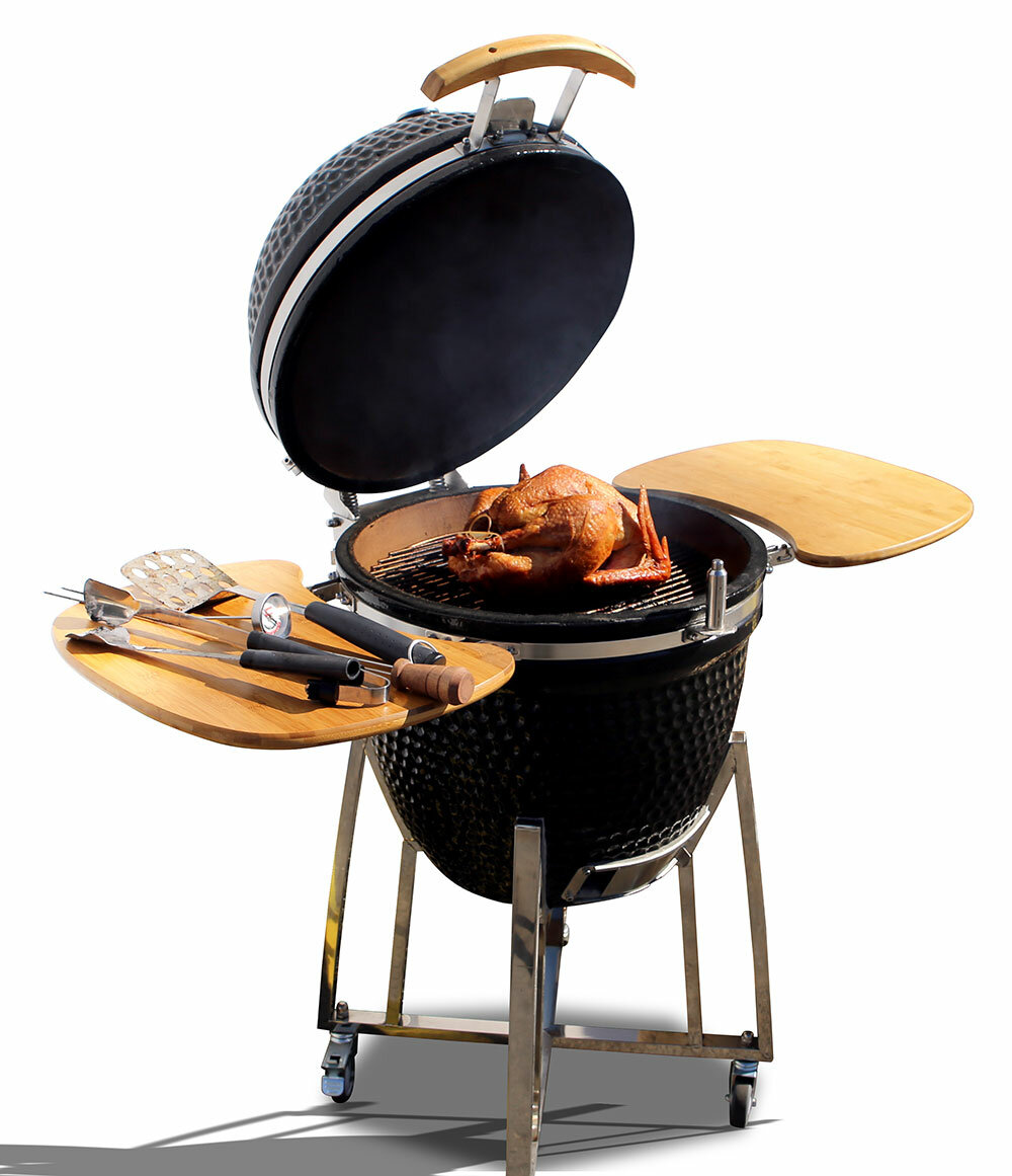 calflame 21 kamado charcoal grill with smoker ebay. Black Bedroom Furniture Sets. Home Design Ideas