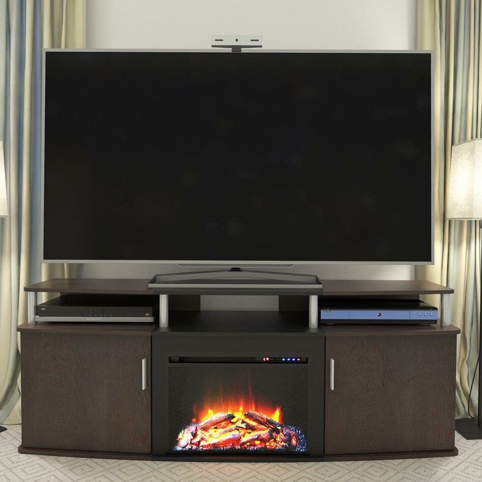 altra furniture carson tv stand with electric fireplace ebay