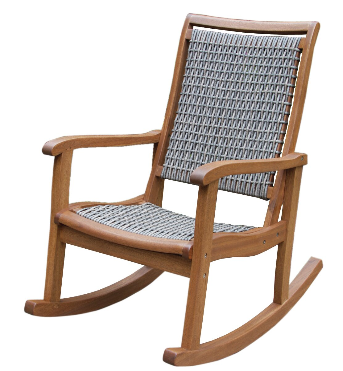 Chair Outdoor Rocking ~ Outdoor interiors resin wicker and eucalyptus rocker chair