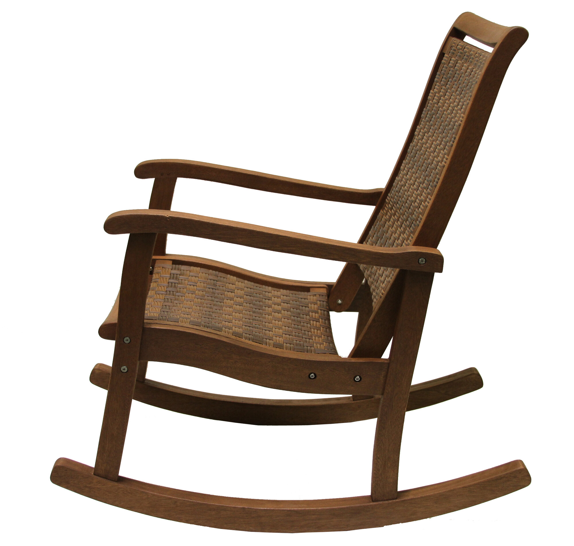 Outdoor interiors resin wicker and eucalyptus rocker chair for Rocking chair
