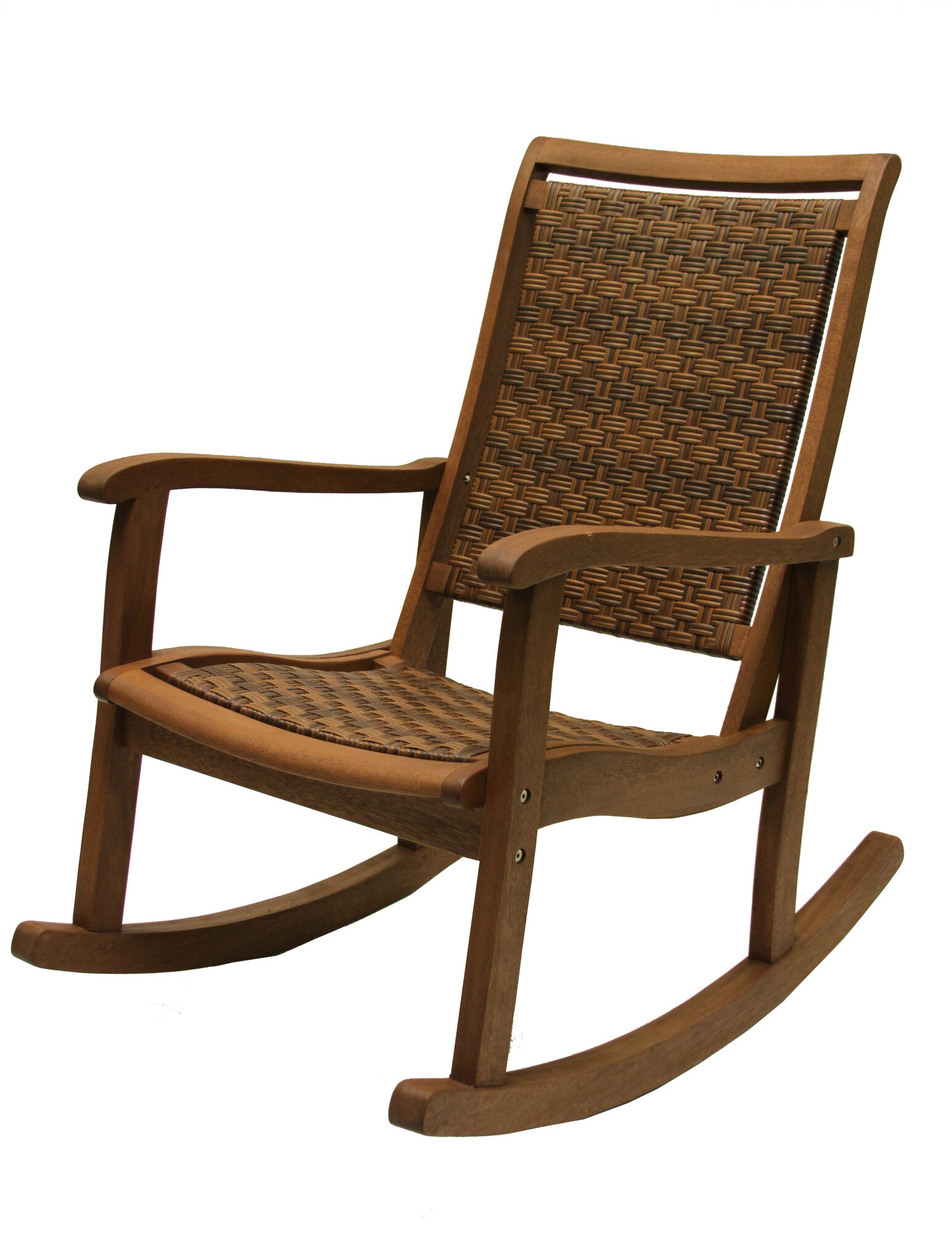 Outdoor Interiors Resin Wicker And Eucalyptus Rocker Chair EBay