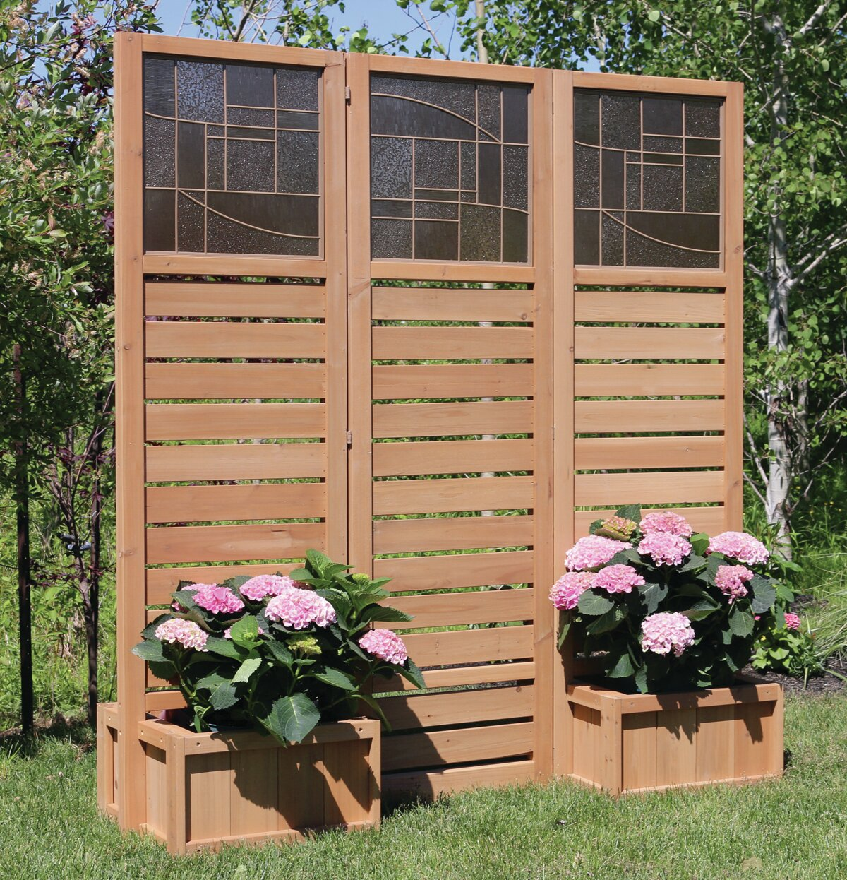 yardistry langdon privacy screen with planters ebay. Black Bedroom Furniture Sets. Home Design Ideas