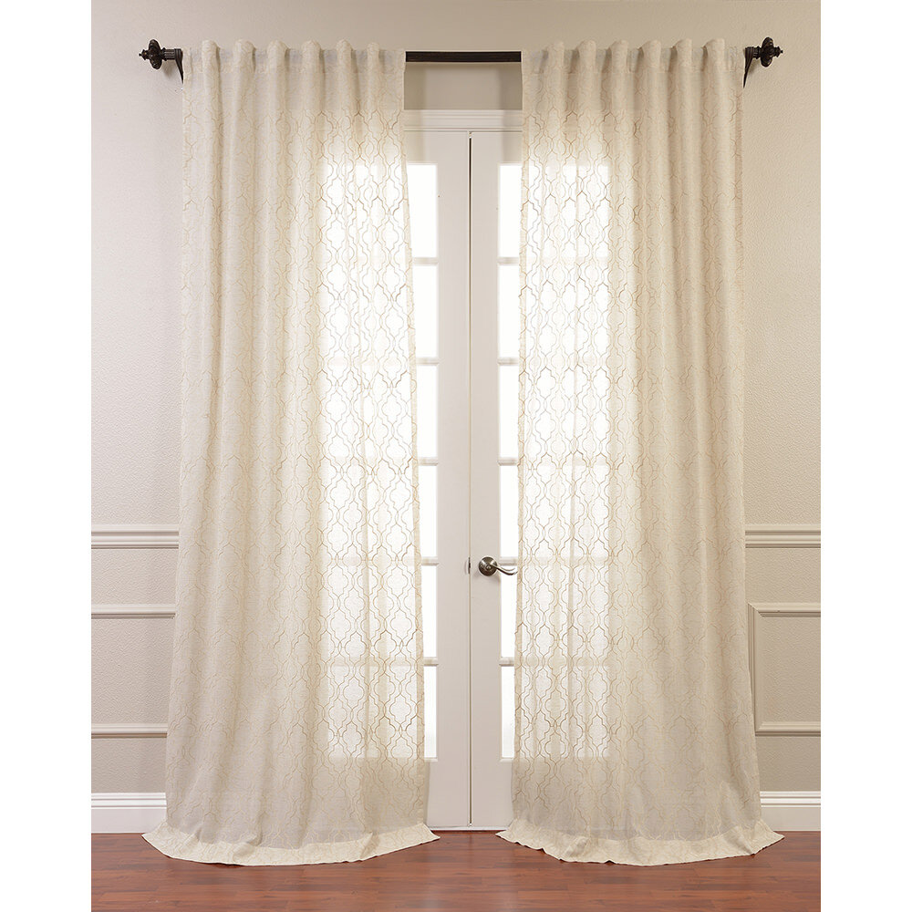 Half Price Drapes Saida Embroidered Faux Linen Sheer Curtain Panel Ebay