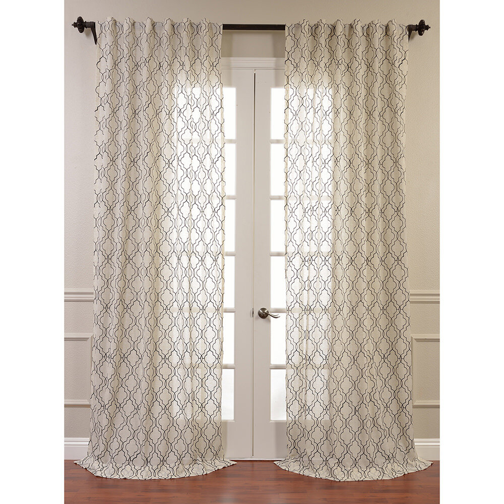 ... Price Drapes Saida Embroidered Faux Linen Sheer Curtain Panel | eBay