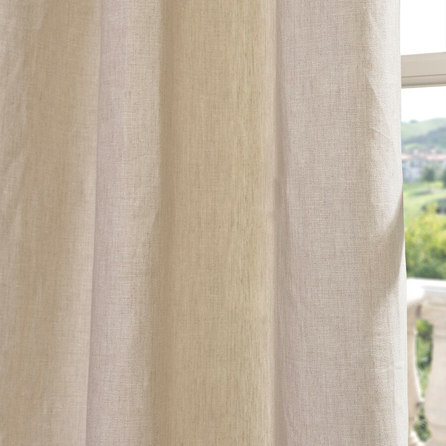 Half Price Drapes Signature Lace French Linen Pleated Curtain Panel ...