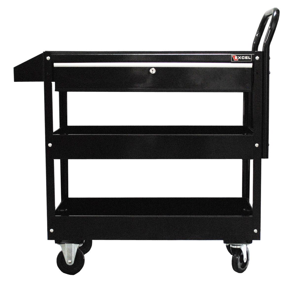 Metal Utility Cart: Excel Hardware Metal Utility Cart Black