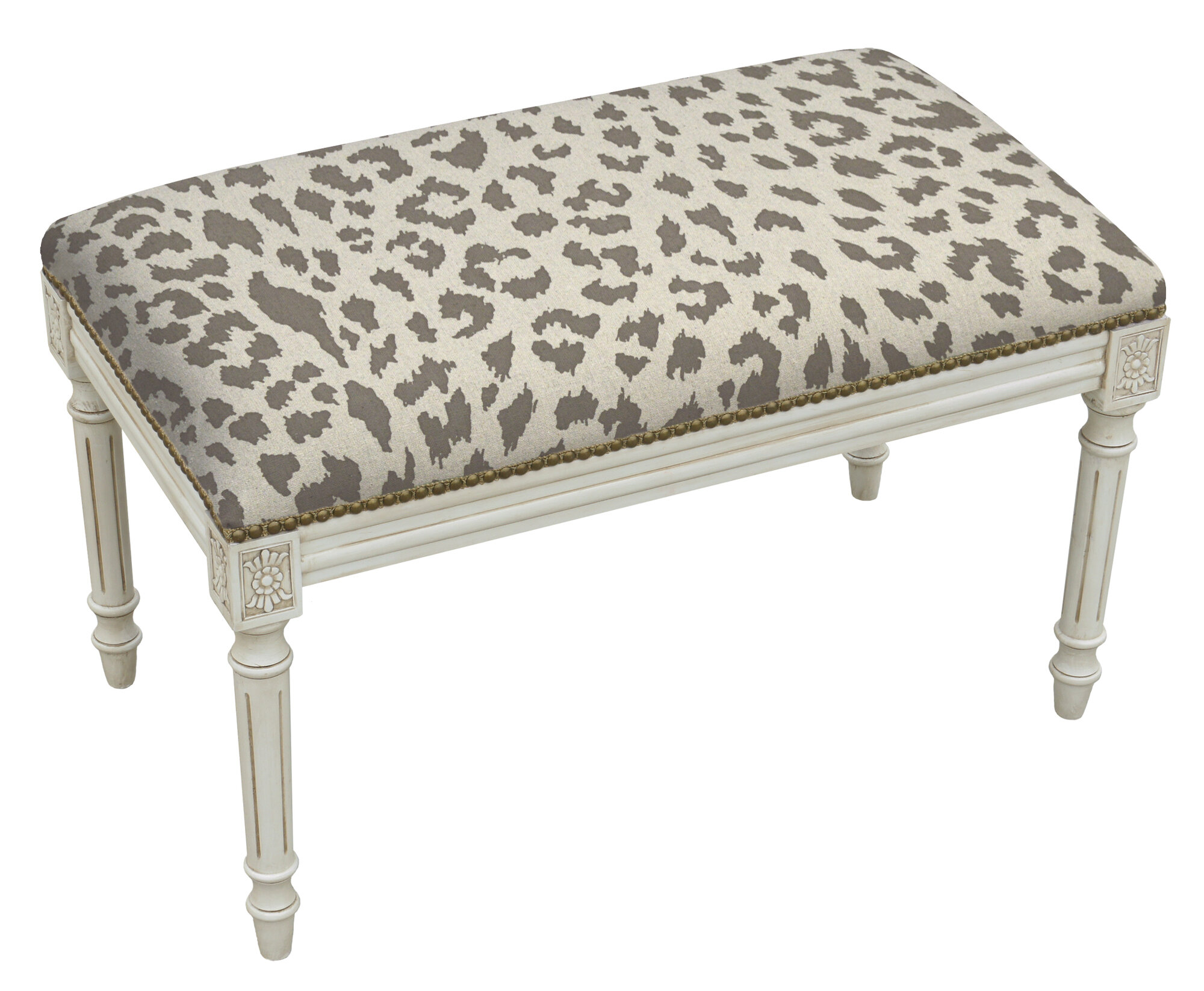 123 creations animal print upholstered and wood bench Leopard print bench