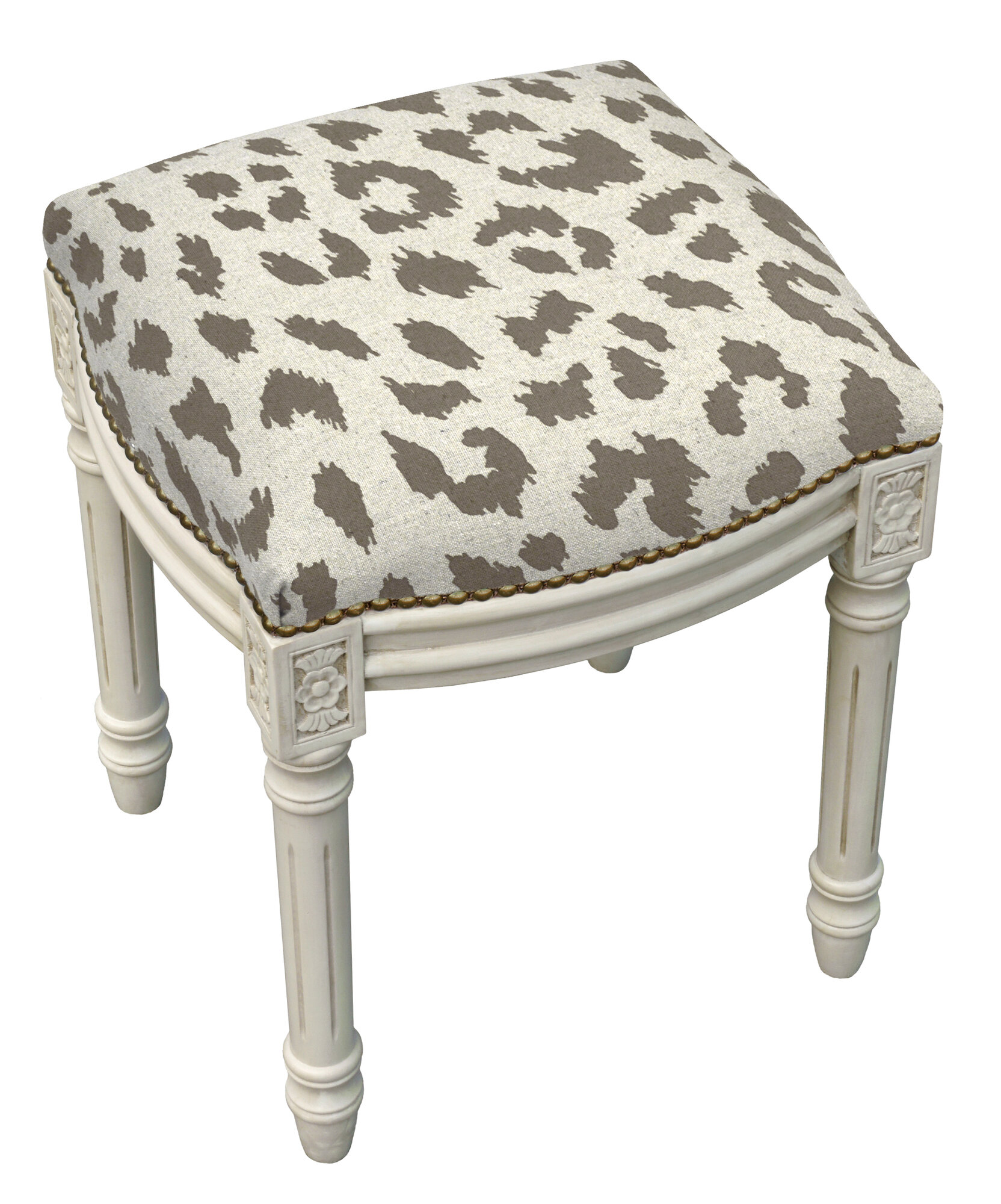 123 Creations Animal Print Cheetah Linen Upholstered