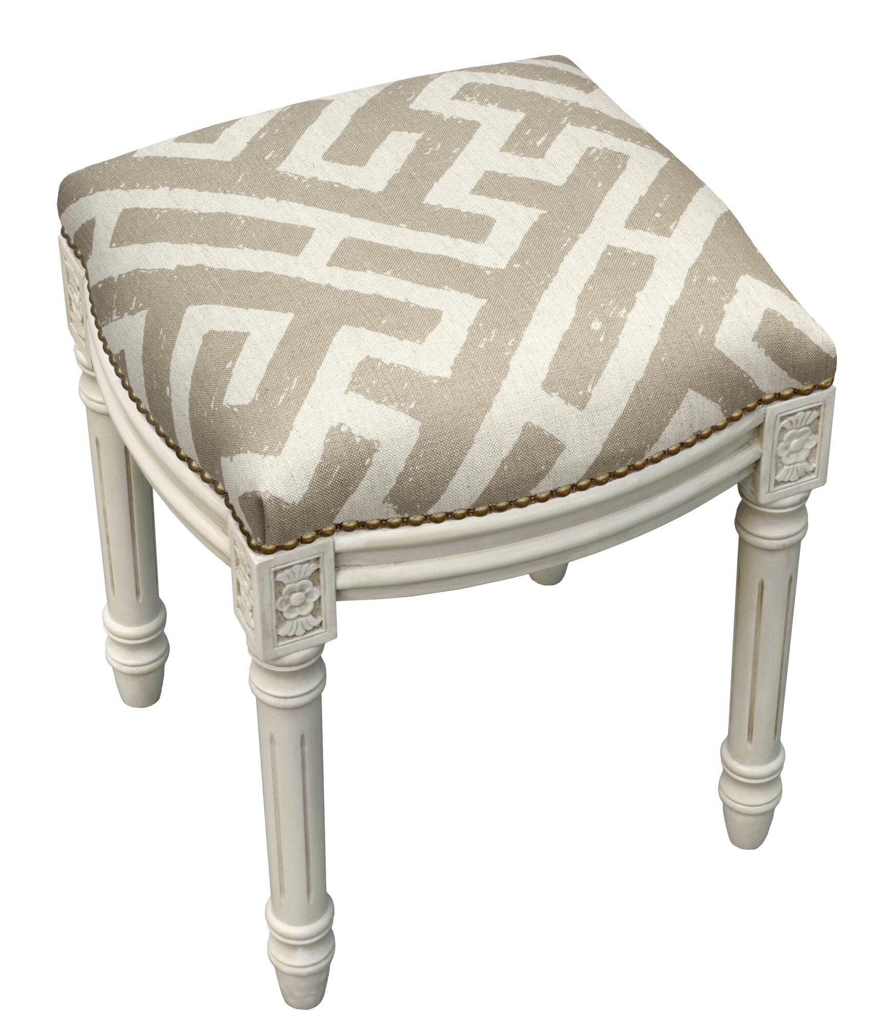 123 Creations Graphic Lattice Linen Upholstered Vanity Stool Ebay
