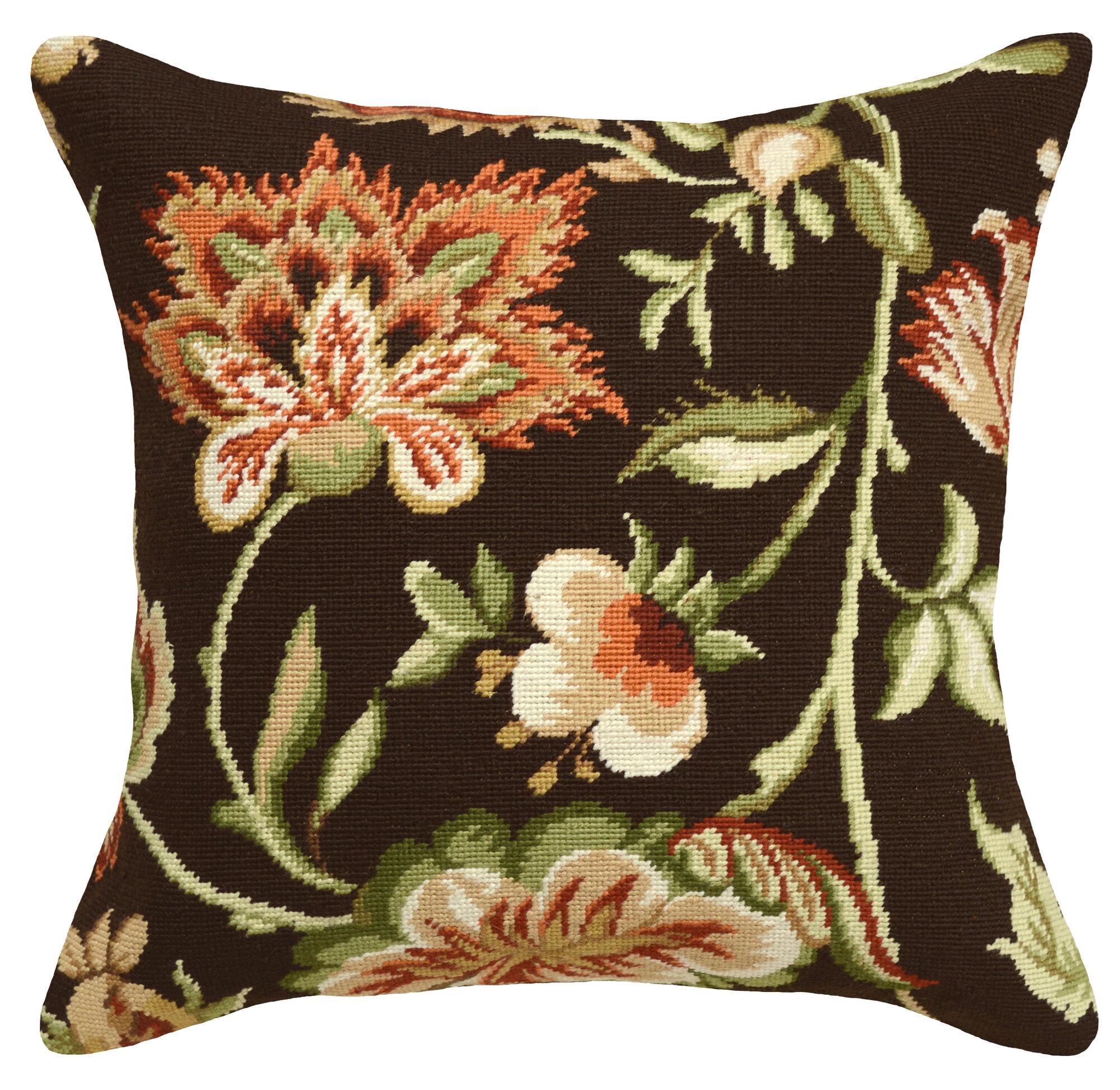 123 Creations Jacobean Floral Needlepoint Wool Throw Pillow eBay