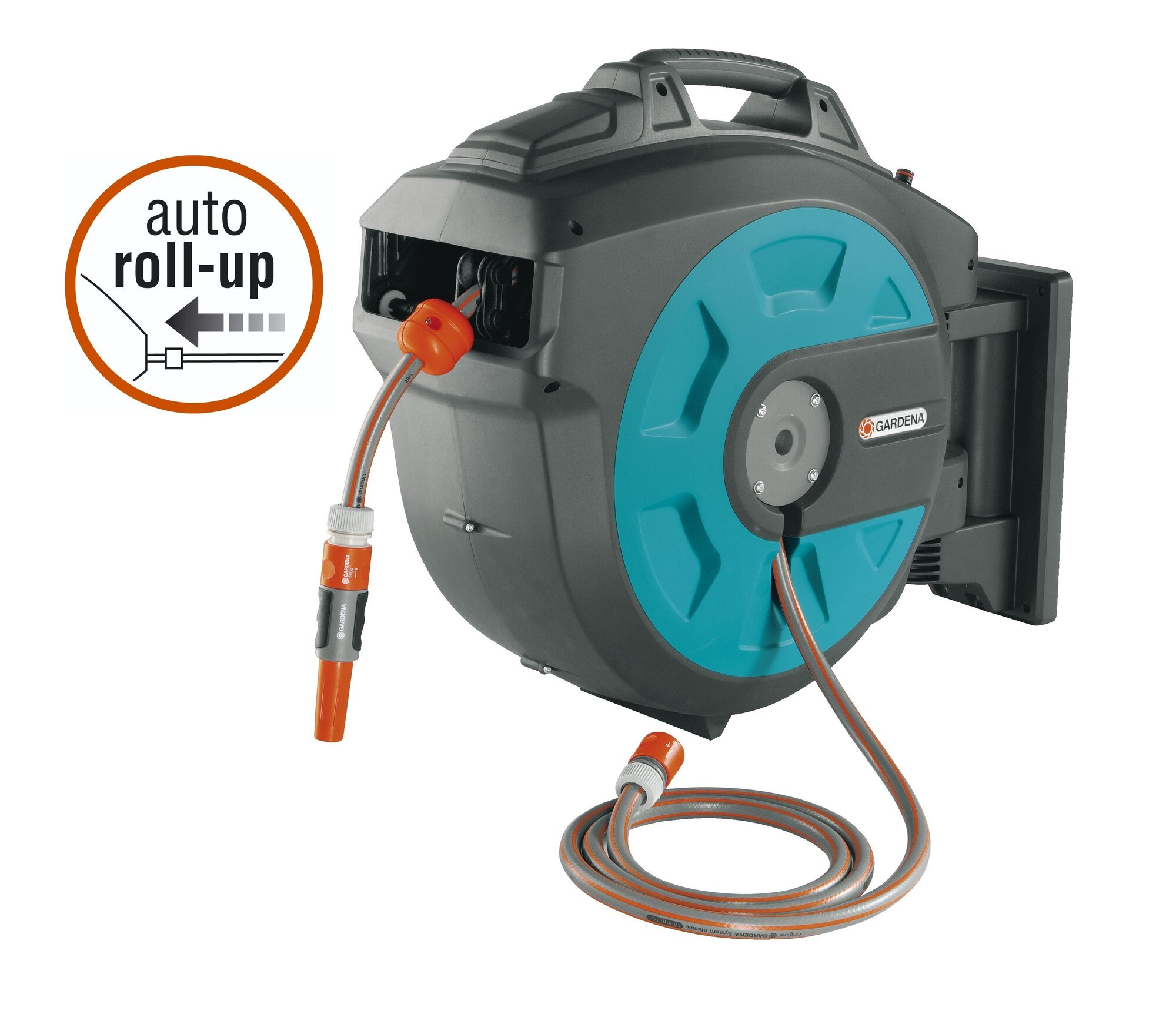 gardena plastic wall mounted hose reel with automatic rewind 82 ft ebay. Black Bedroom Furniture Sets. Home Design Ideas