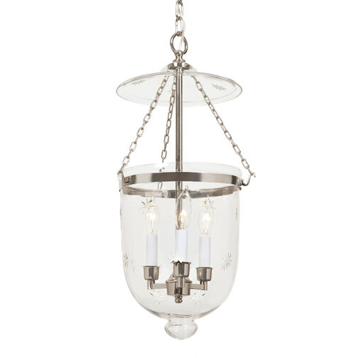about jvi designs 3 light large bell jar foyer pendant with star glass. Black Bedroom Furniture Sets. Home Design Ideas