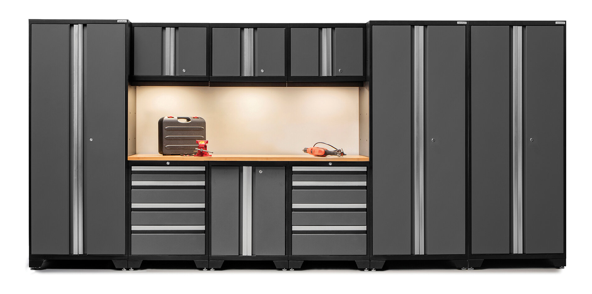 NewAge Products Bold 3 0 Series 10 Piece Garage Storage Cabinet Set with  Worktop. Garage Cabinets   New  Used  Storage  Metal  Wall   eBay