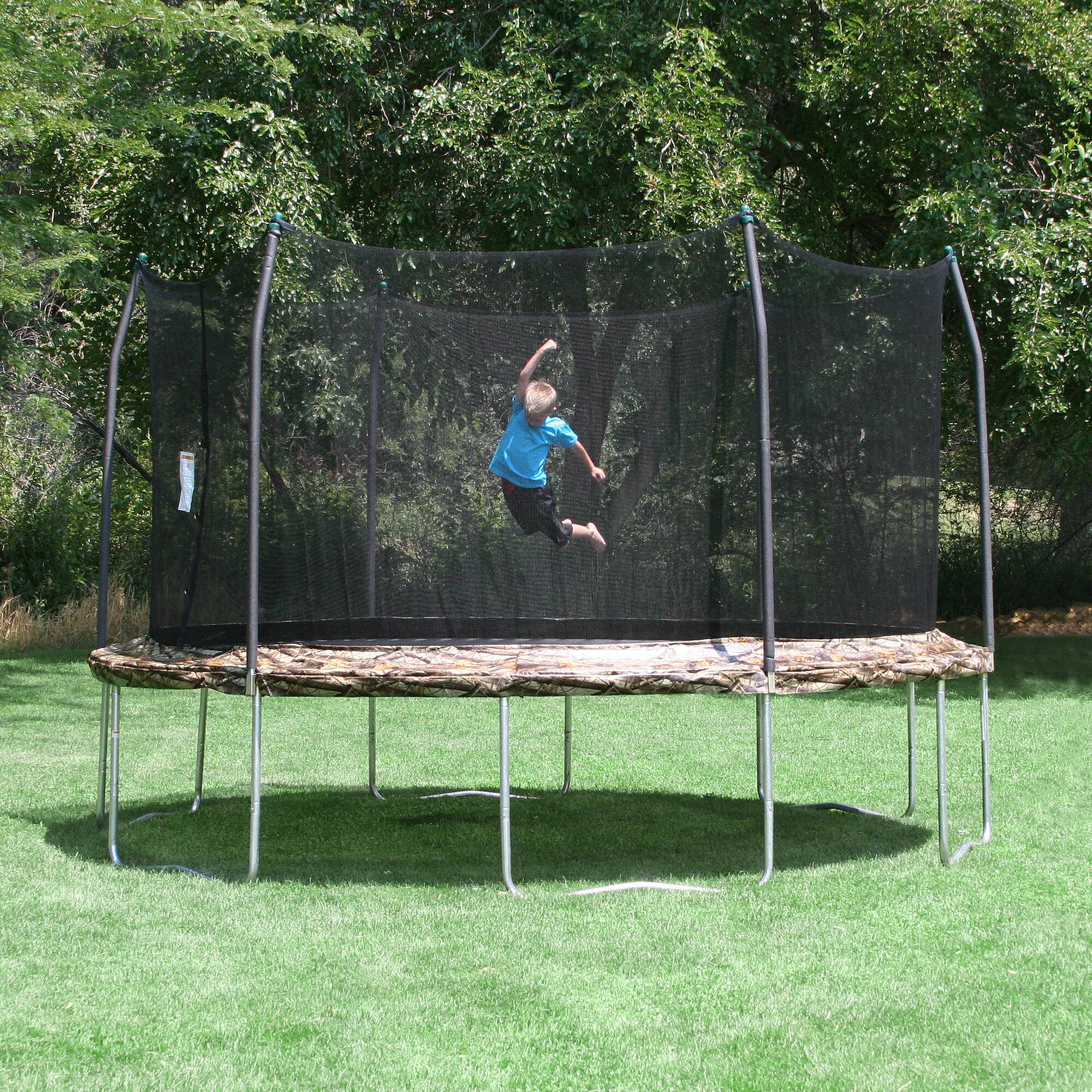 Skywalker 15 Ft Round Trampoline With Enclosure: Skywalker Trampolines Camo 15' Round Trampoline And