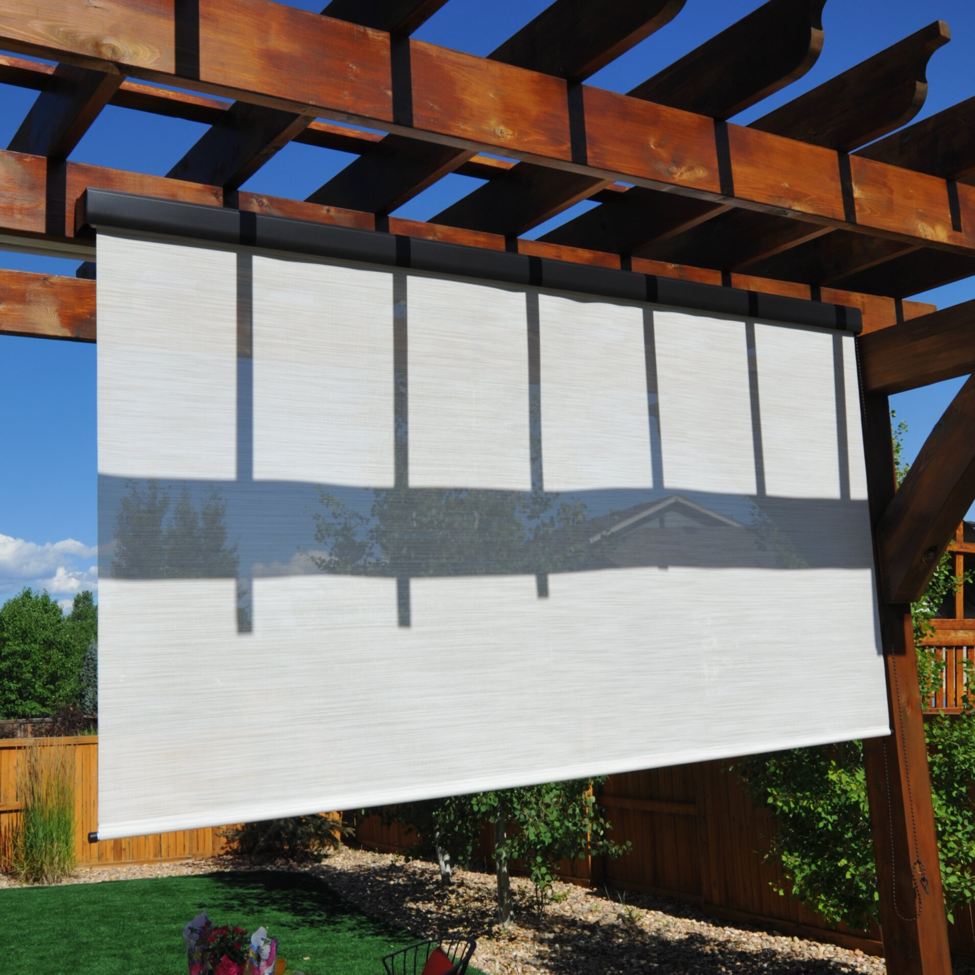 Keystone fabrics titanium plus pole operated exterior - Exterior sun blocking window shades ...