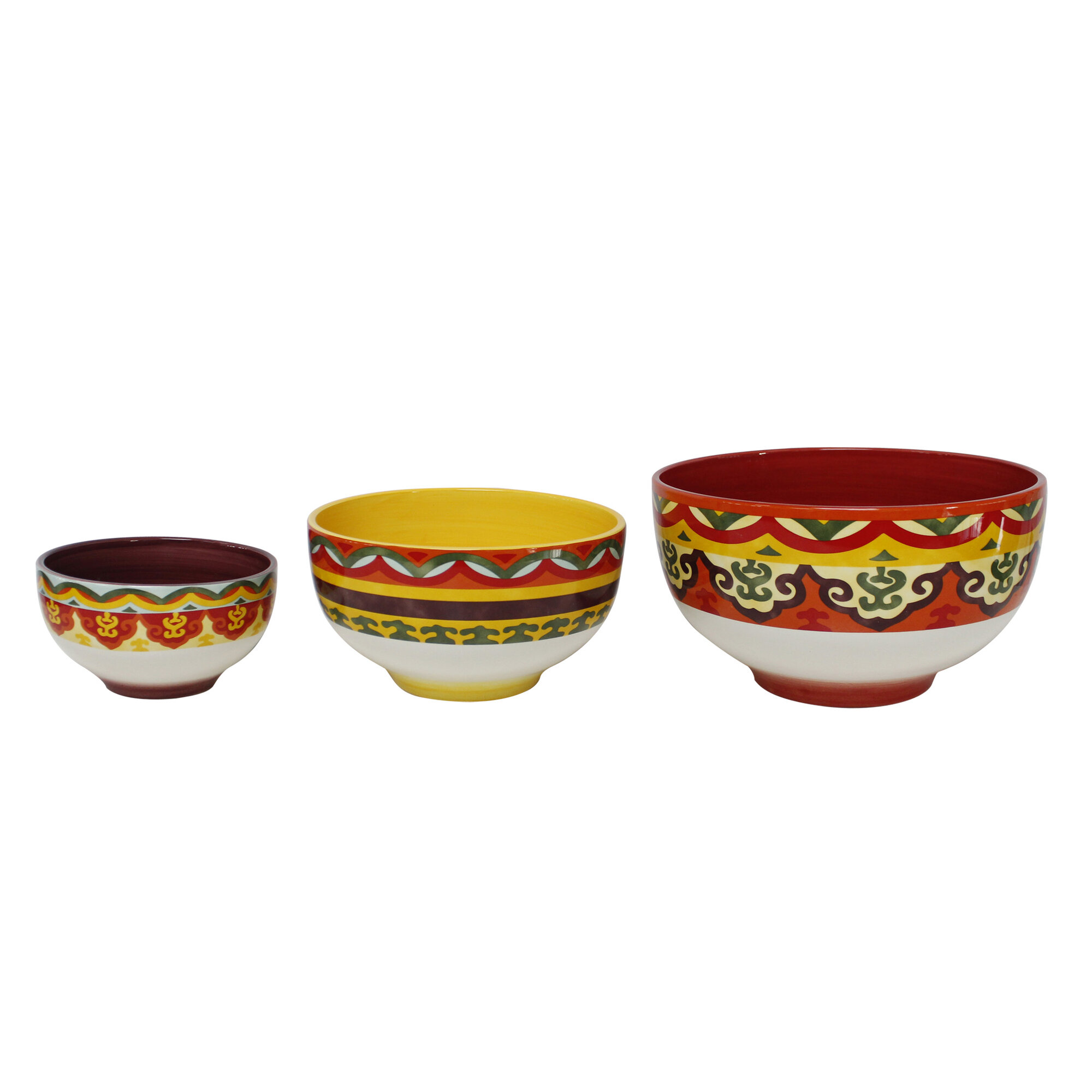 euro ceramica galicia 3 piece ceramic mixing bowl set ebay. Black Bedroom Furniture Sets. Home Design Ideas
