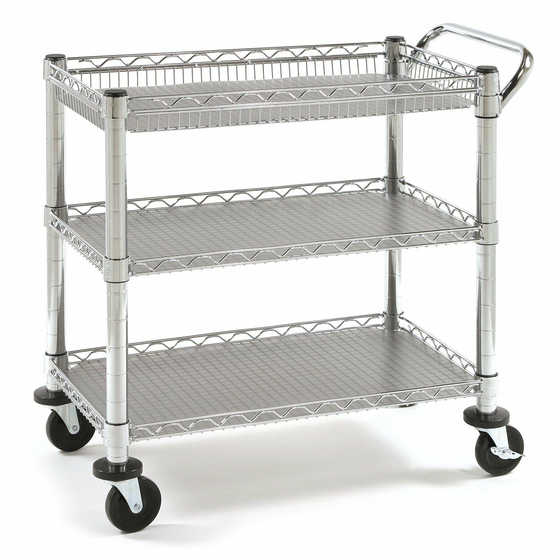 Metal Utility Cart: Seville Classics UltraZinc Three Shelf NSF Commercial