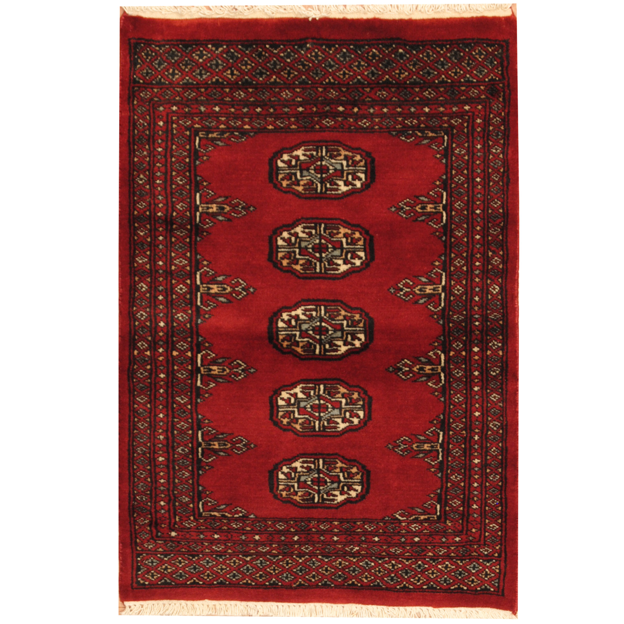 Persian Bokhara Hand Knotted Wool Area Rug: Herat Oriental Bokhara Hand-Knotted Red/cream Area Rug