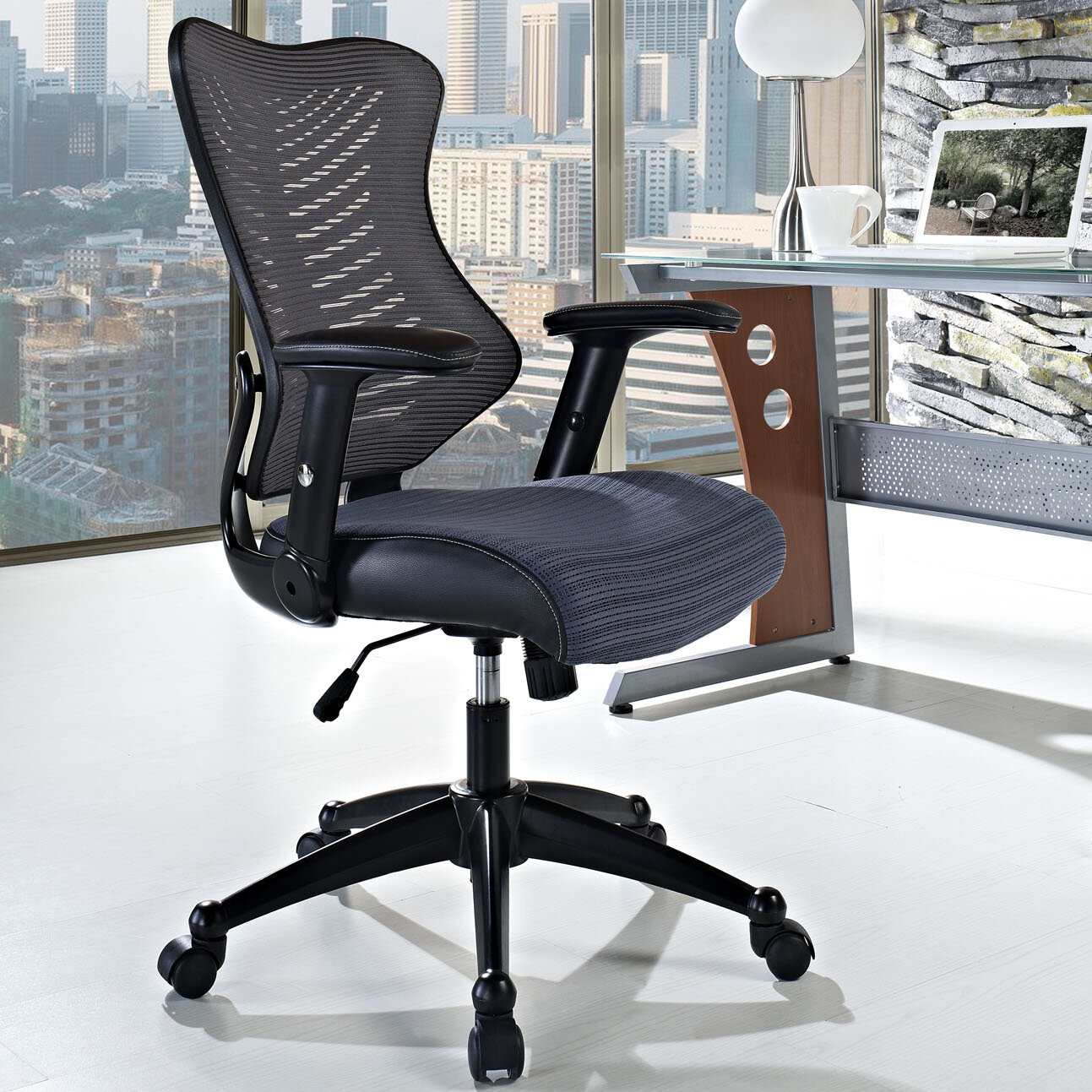 modway clutch mid back mesh office chair gray