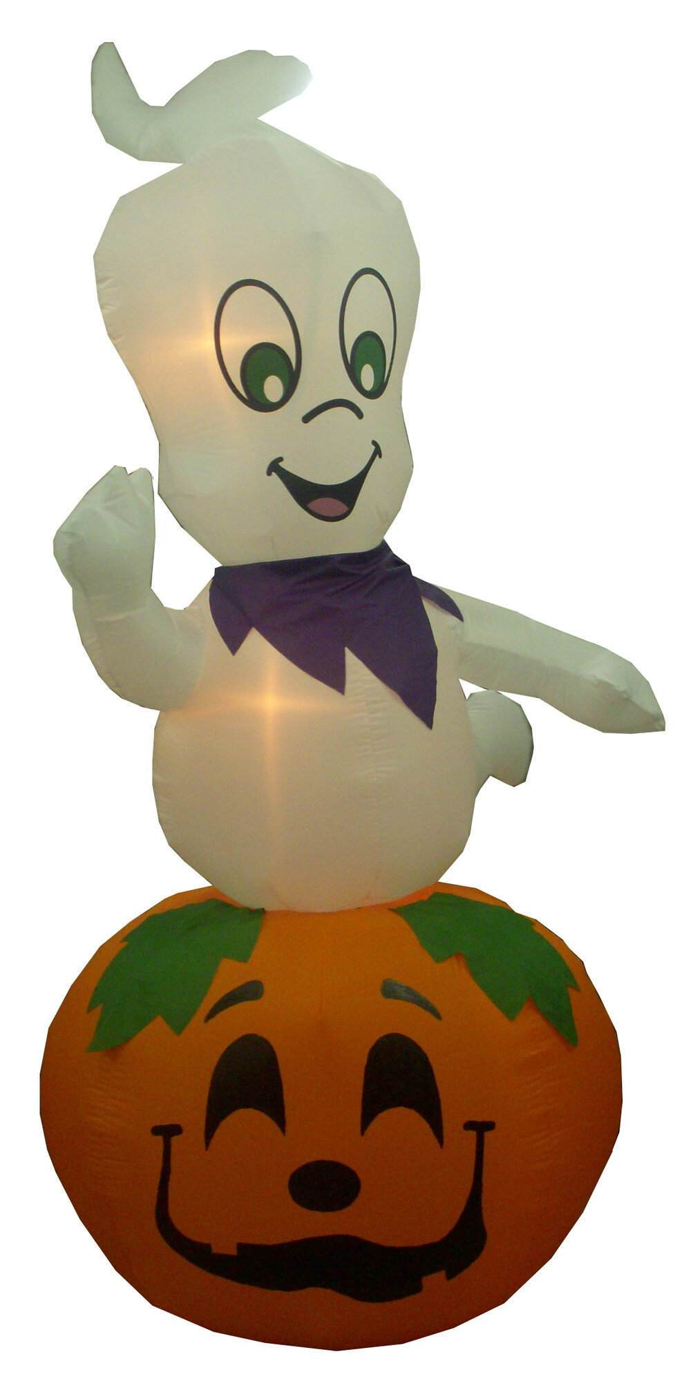 Animated halloween inflatable ghost casper on pumpkin for Animated halloween decoration