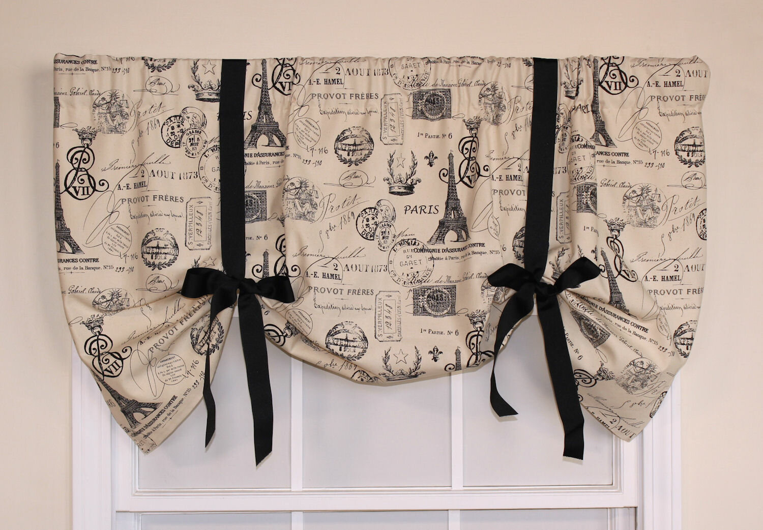 """Details about RLF Home French Stamp Tie-Up 50"""" Curtain Valance"""