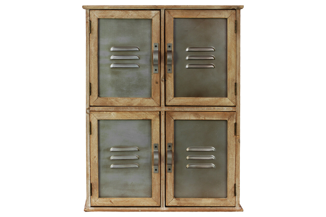 Wood Cabinet With 4 Metal Doors With Vents And Handles Natural Wood Finish Ebay