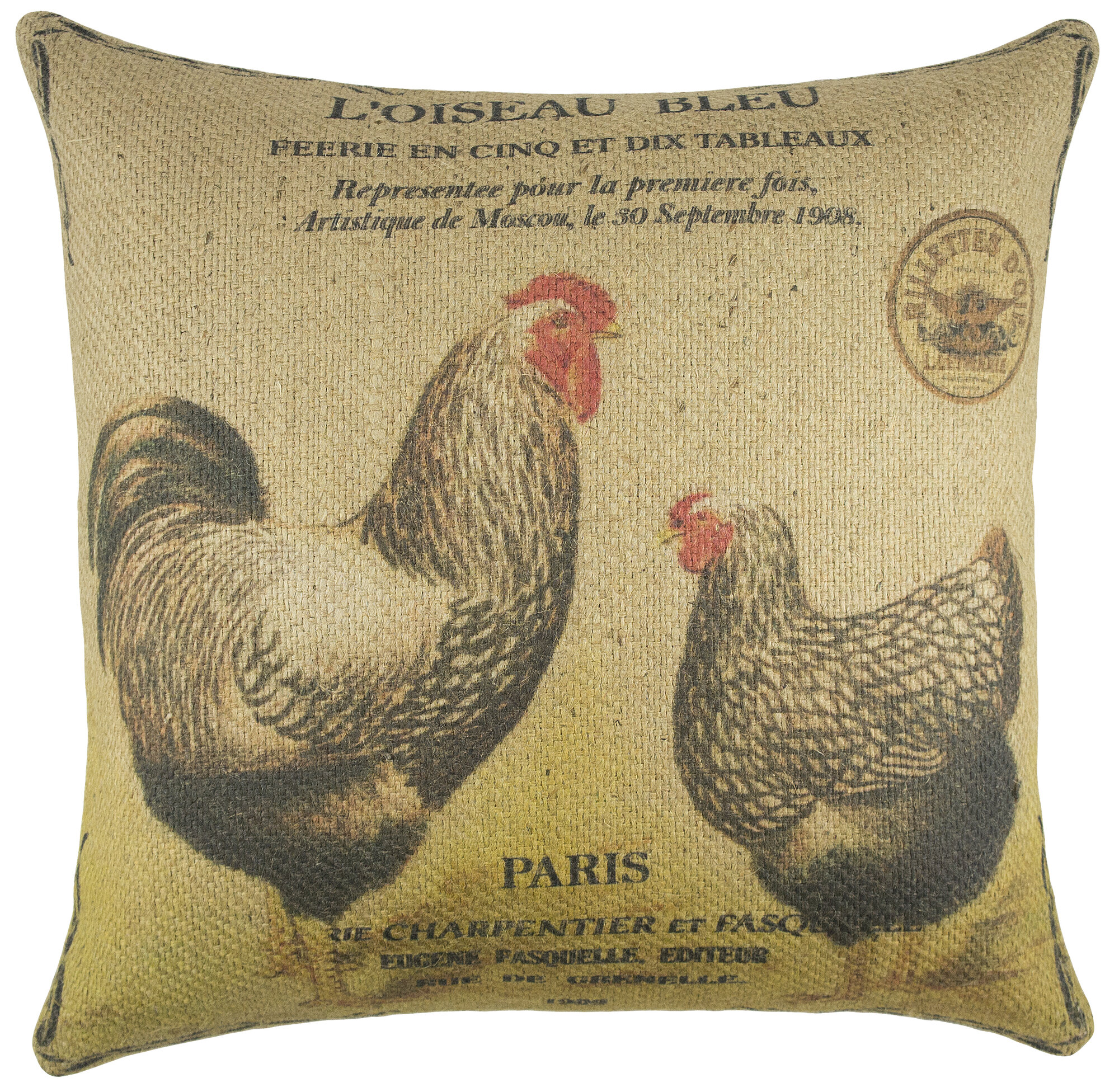 How To Make A Burlap Throw Pillow : TheWatsonShop Chickens Burlap Throw Pillow eBay