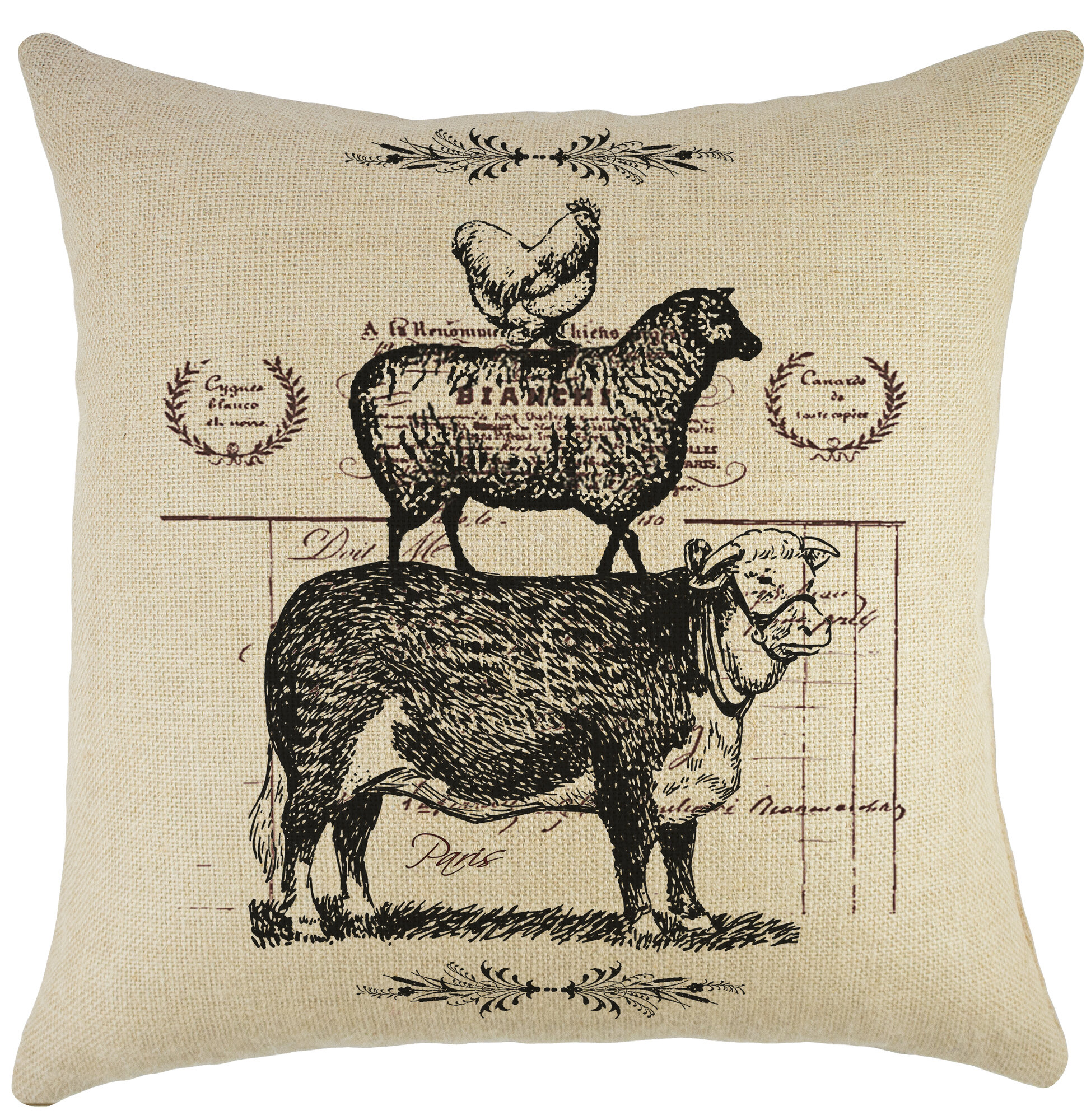 Decorative Pillows With Chickens : TheWatsonShop Cow Sheep Chicken Burlap Throw Pillow eBay