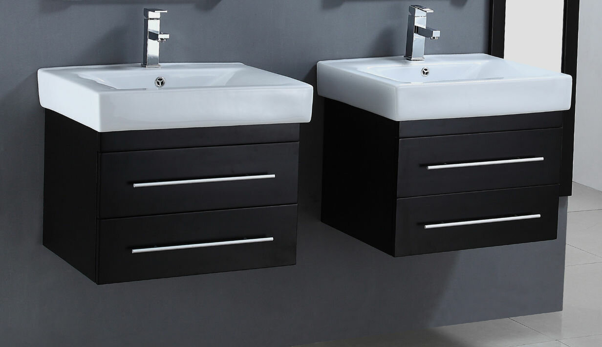 legion furniture 24 floating double bathroom vanity set ebay. Black Bedroom Furniture Sets. Home Design Ideas