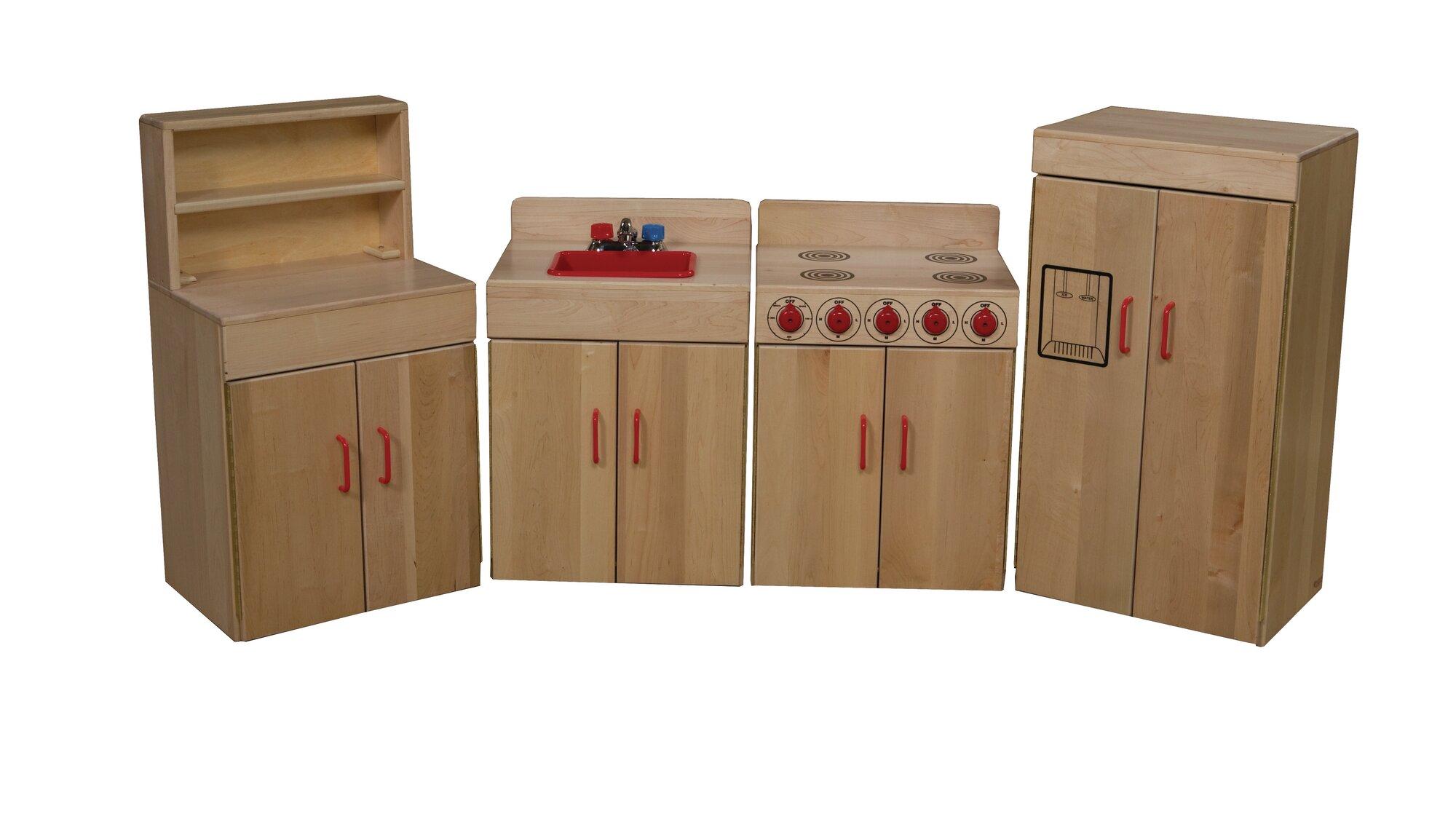 Wood designs heritage 4 piece maple kitchen appliance set for Maple wood kitchen designs