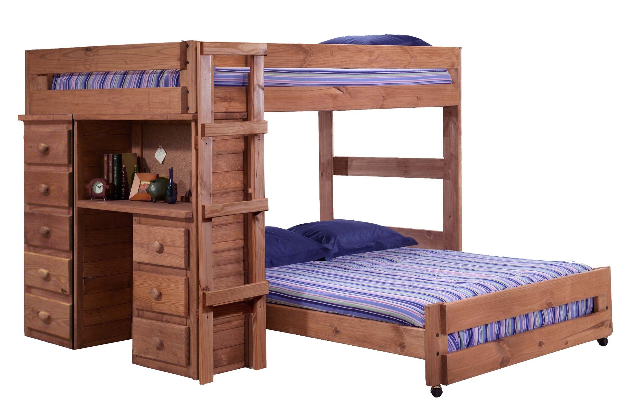 Chelsea Home Full Over Full L-Shaped Bunk Bed with Desk and 5 Drawer Chest