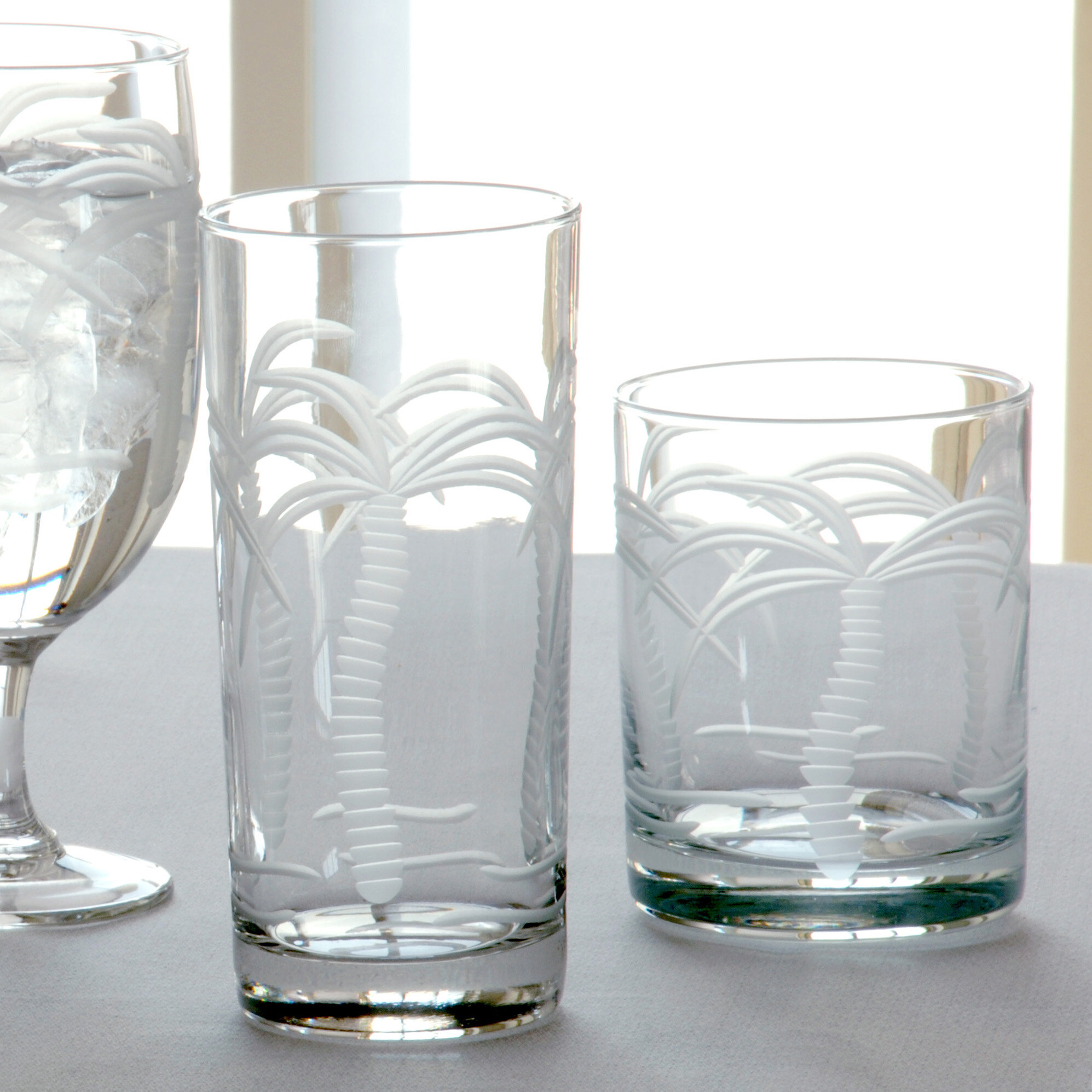 rolf glass palm tree 14 oz double old fashioned glass set of 4 ebay. Black Bedroom Furniture Sets. Home Design Ideas