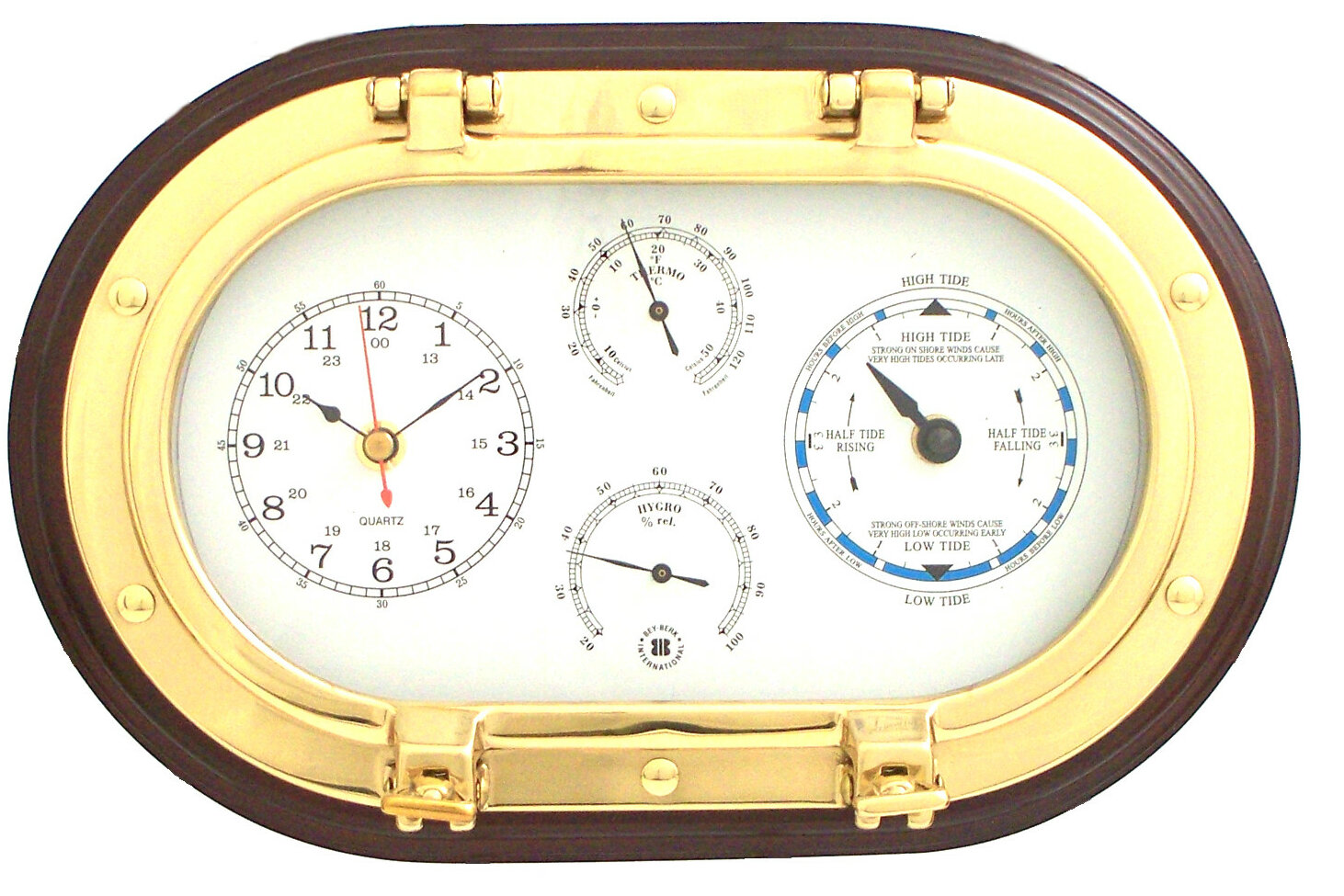 Bey Berk 12 Quot Porthole Wall Clock Tide Clock Thermometer