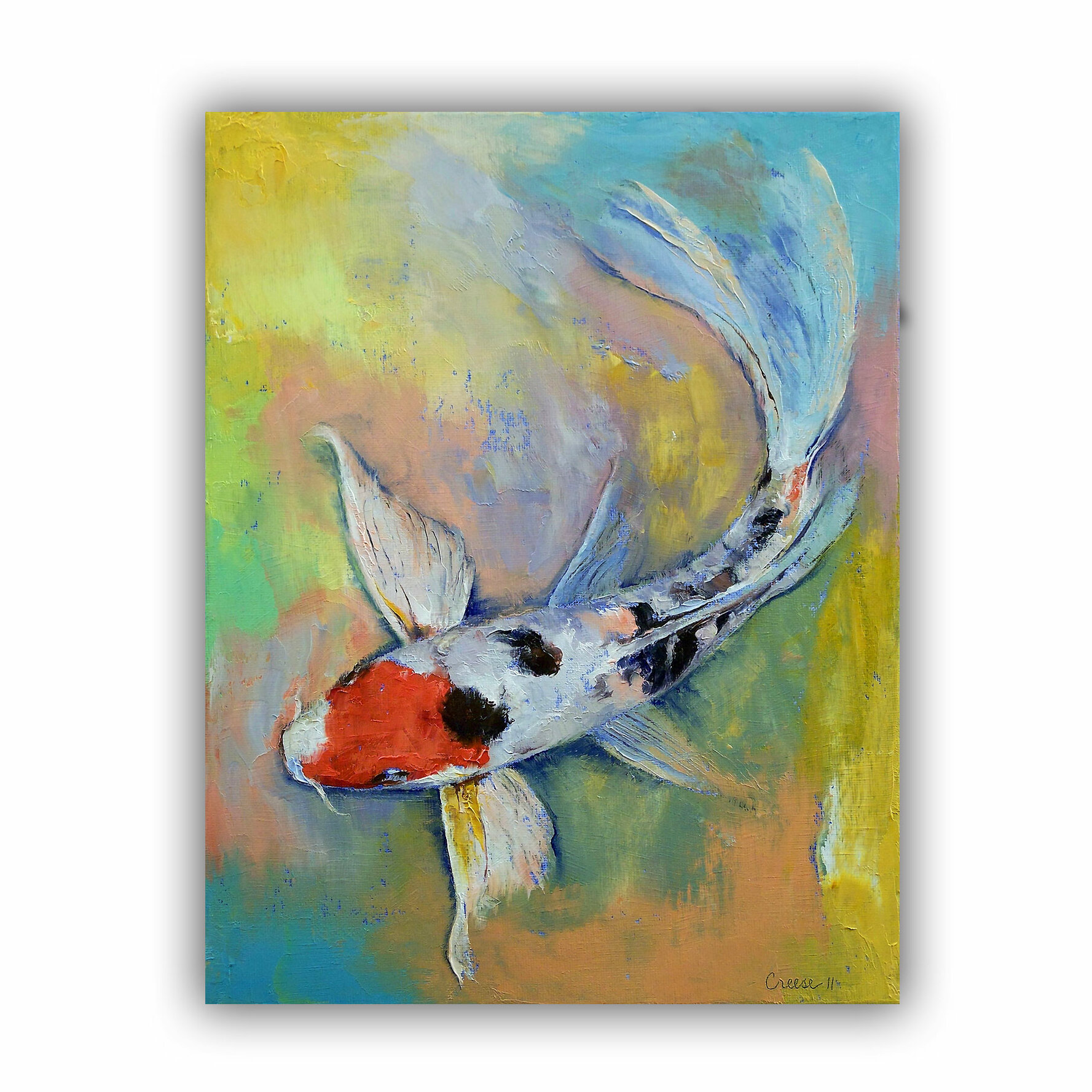 Artwall maruten butterfly koi by michael creese painting for Koi canvas print