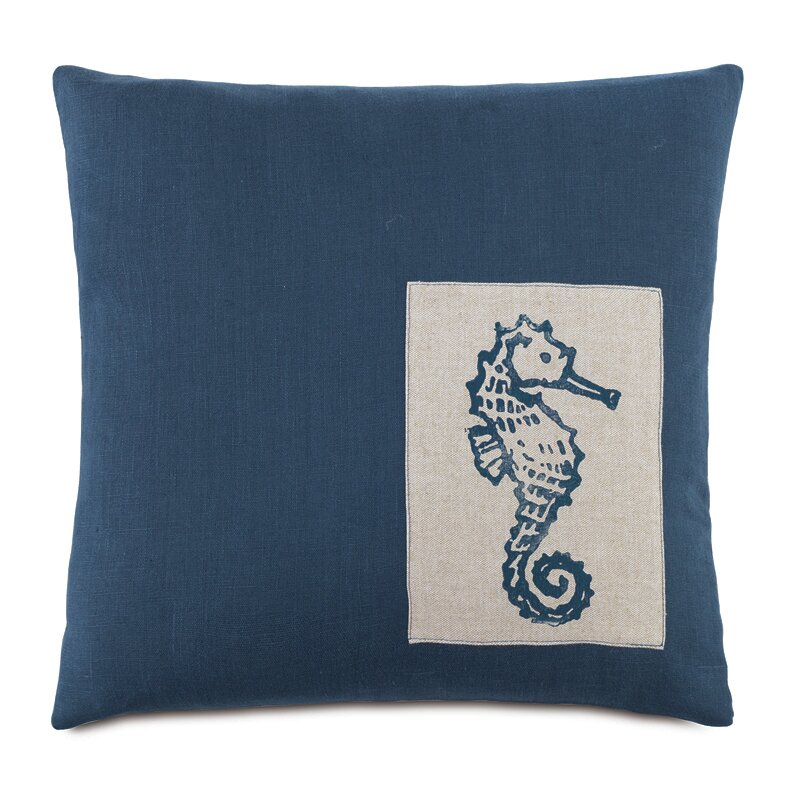 Hen Feathers Nautical Seahorse Down Throw Pillow